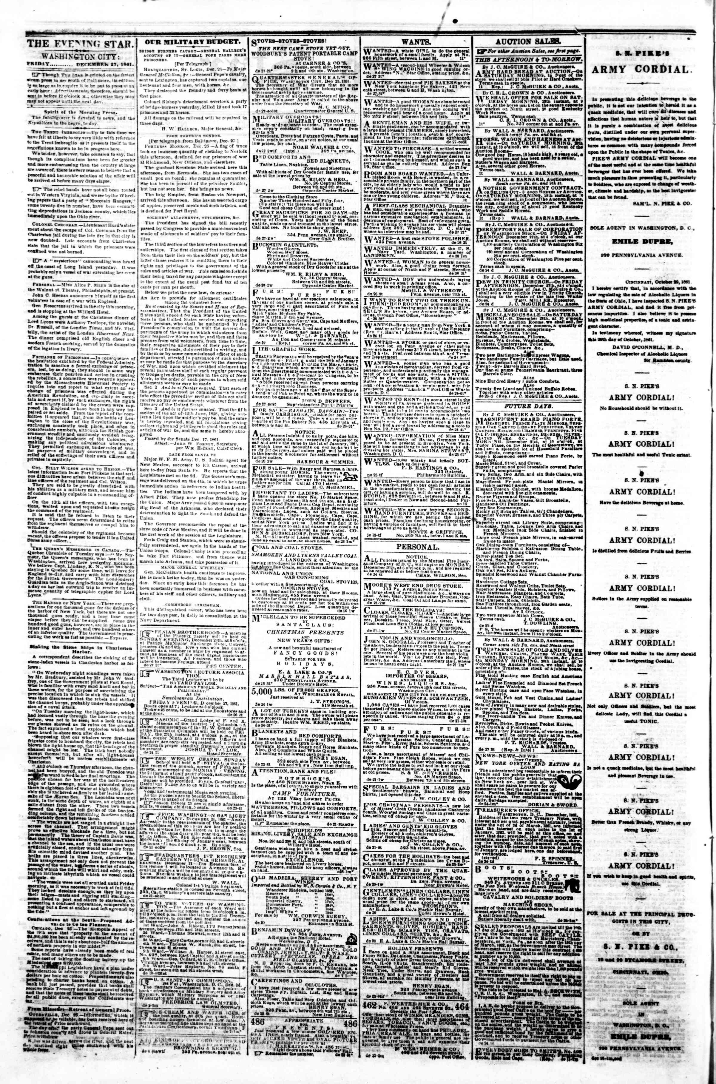 Newspaper of Evening Star dated December 27, 1861 Page 2