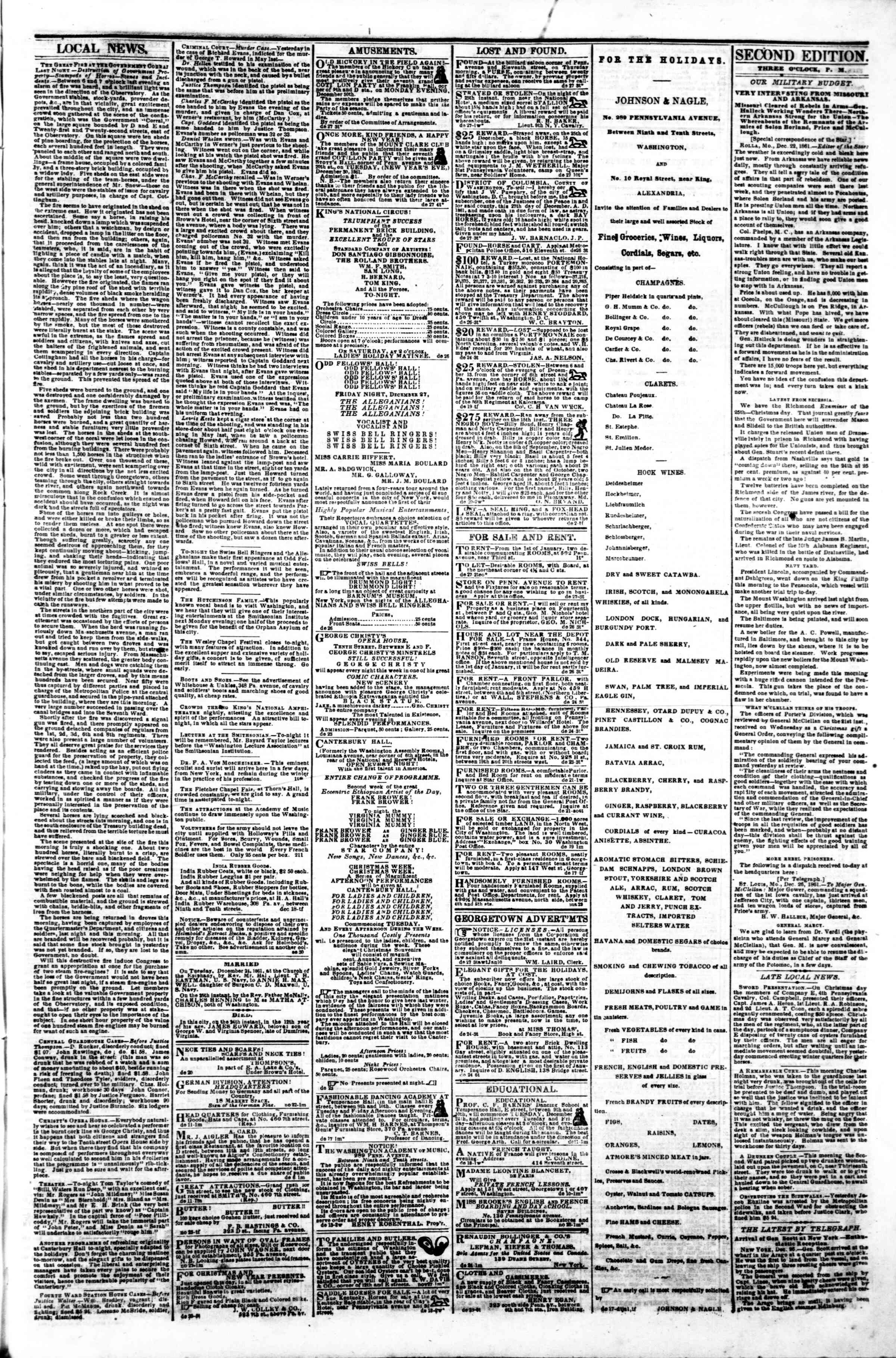 Newspaper of Evening Star dated December 27, 1861 Page 3