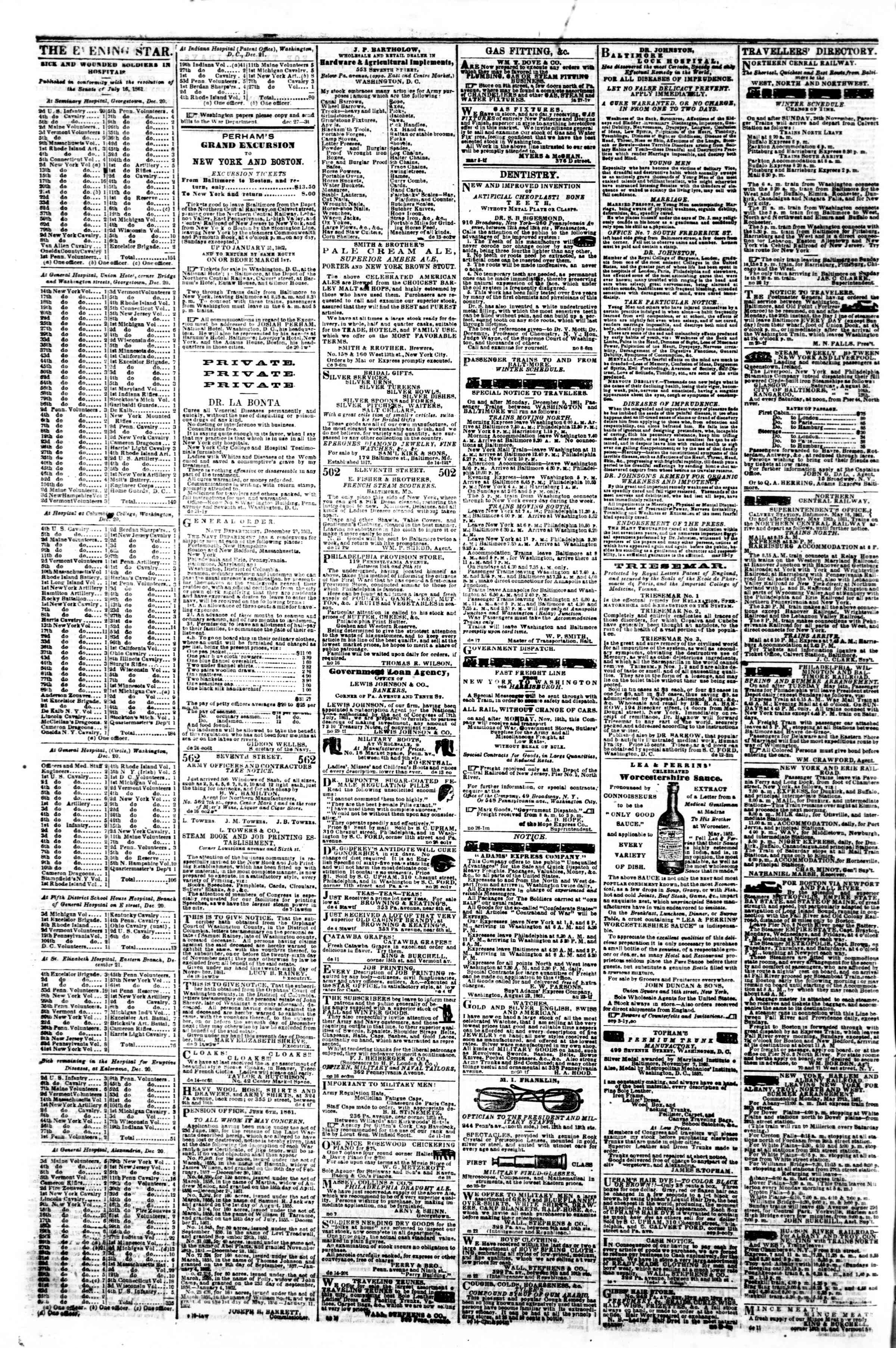 Newspaper of Evening Star dated December 27, 1861 Page 4