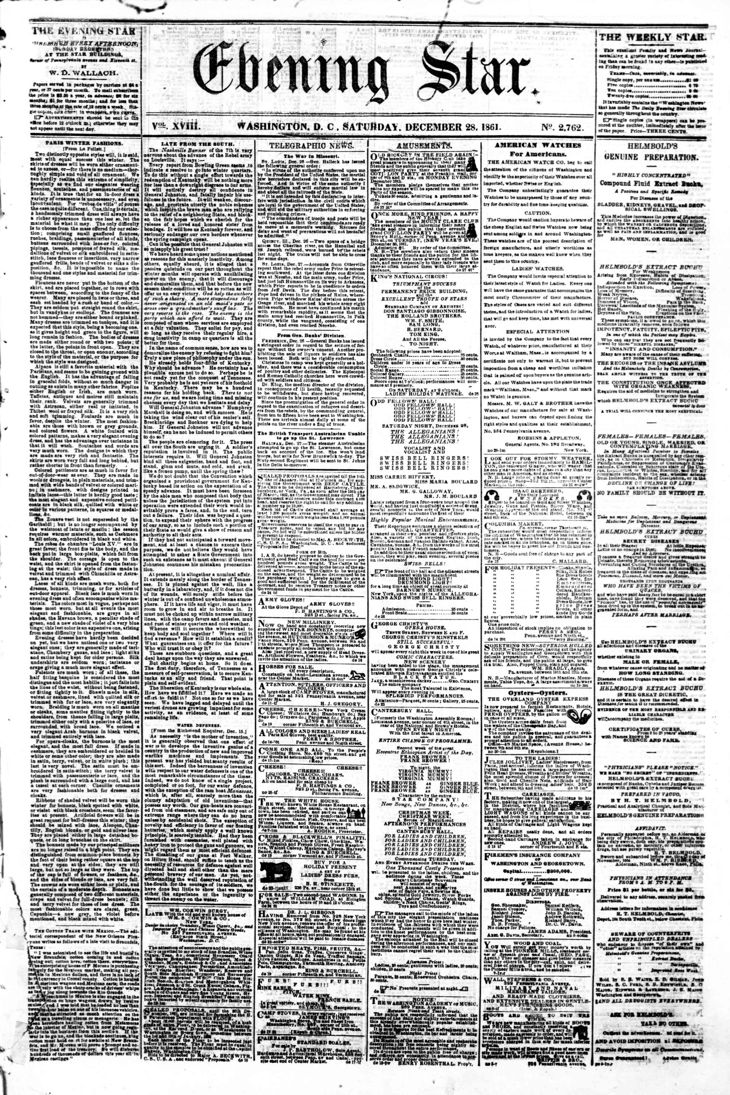 Newspaper of Evening Star dated December 28, 1861 Page 1