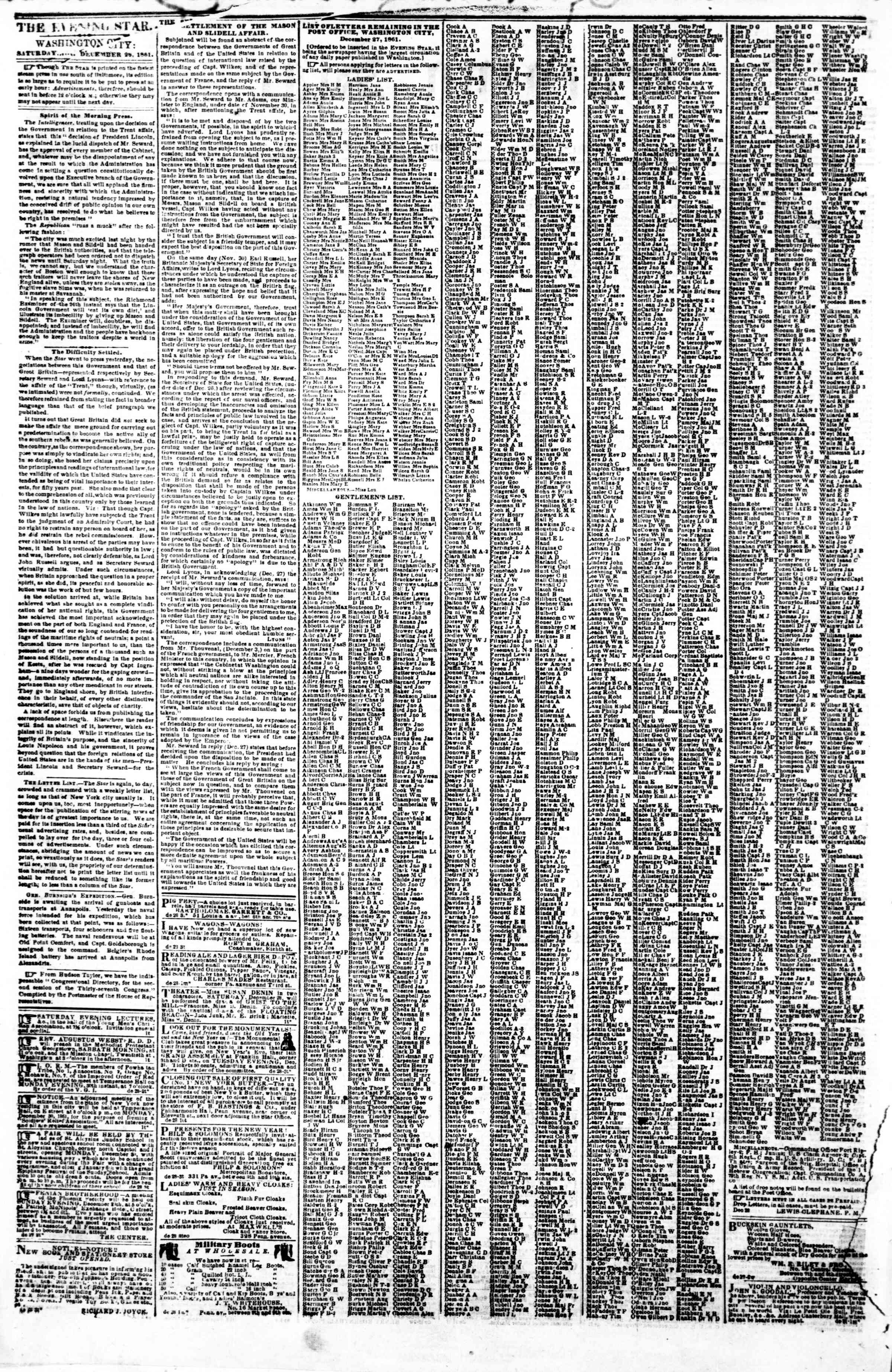 Newspaper of Evening Star dated December 28, 1861 Page 2