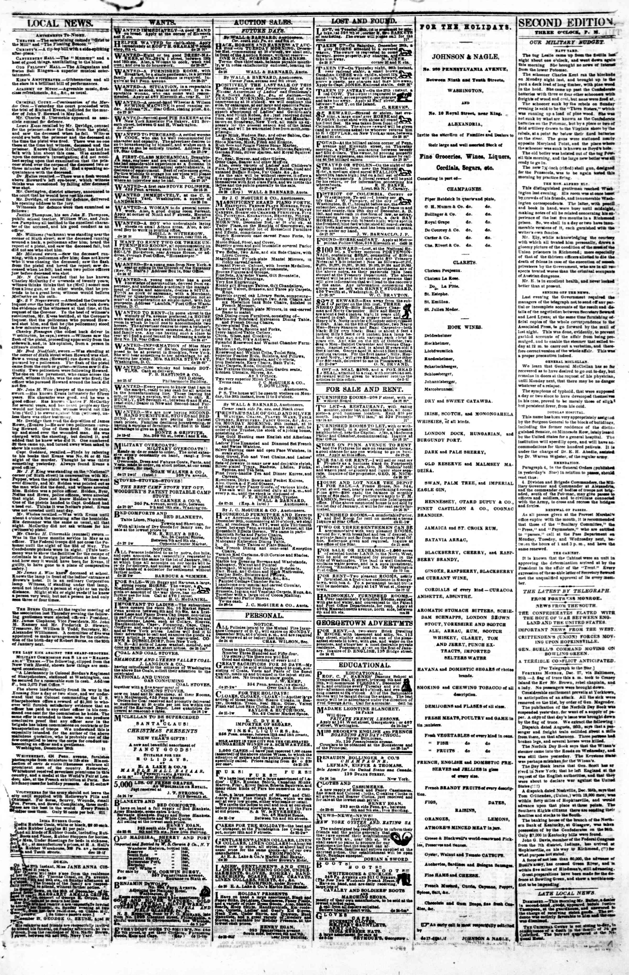 Newspaper of Evening Star dated December 28, 1861 Page 3