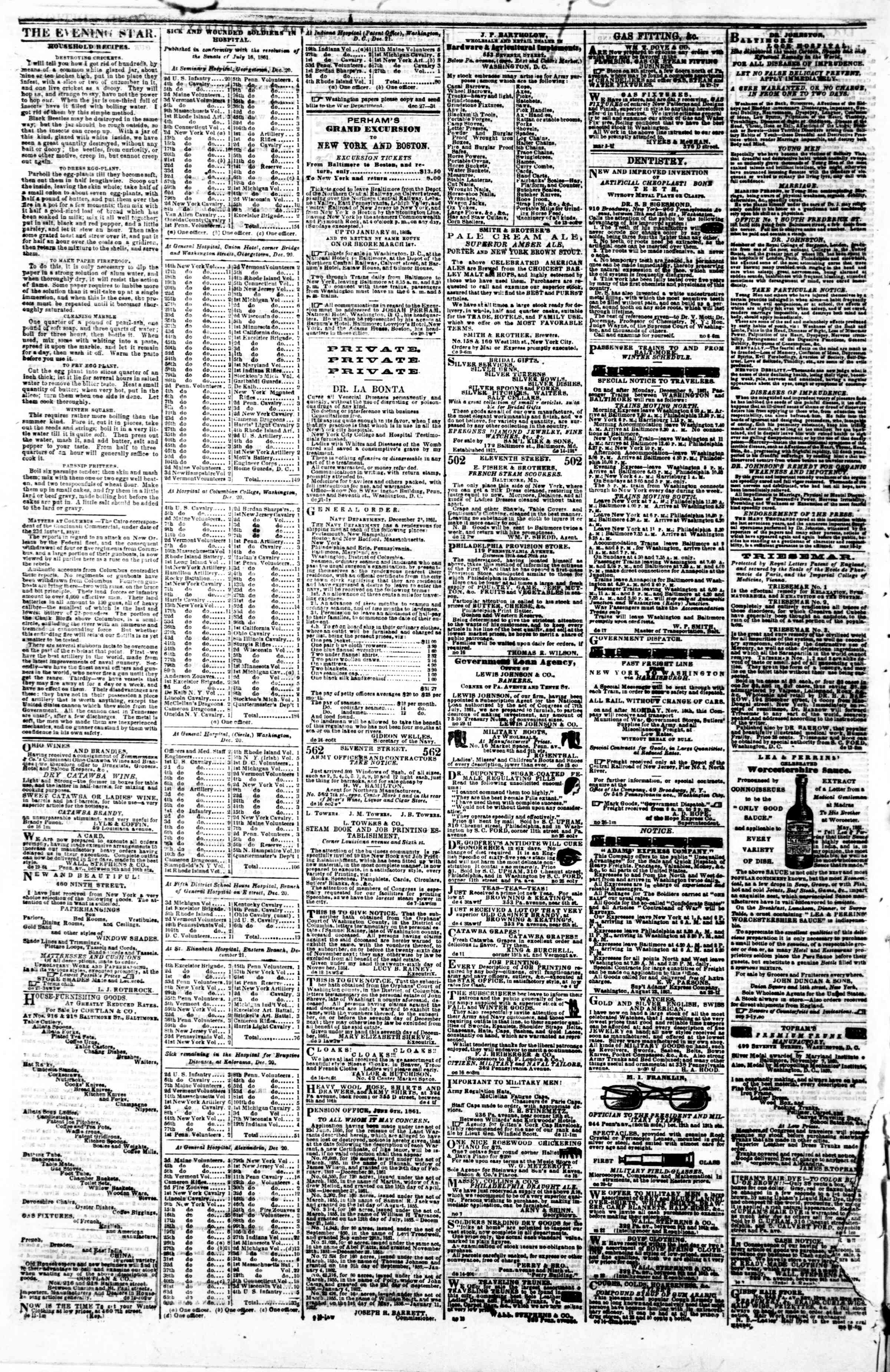 Newspaper of Evening Star dated December 28, 1861 Page 4