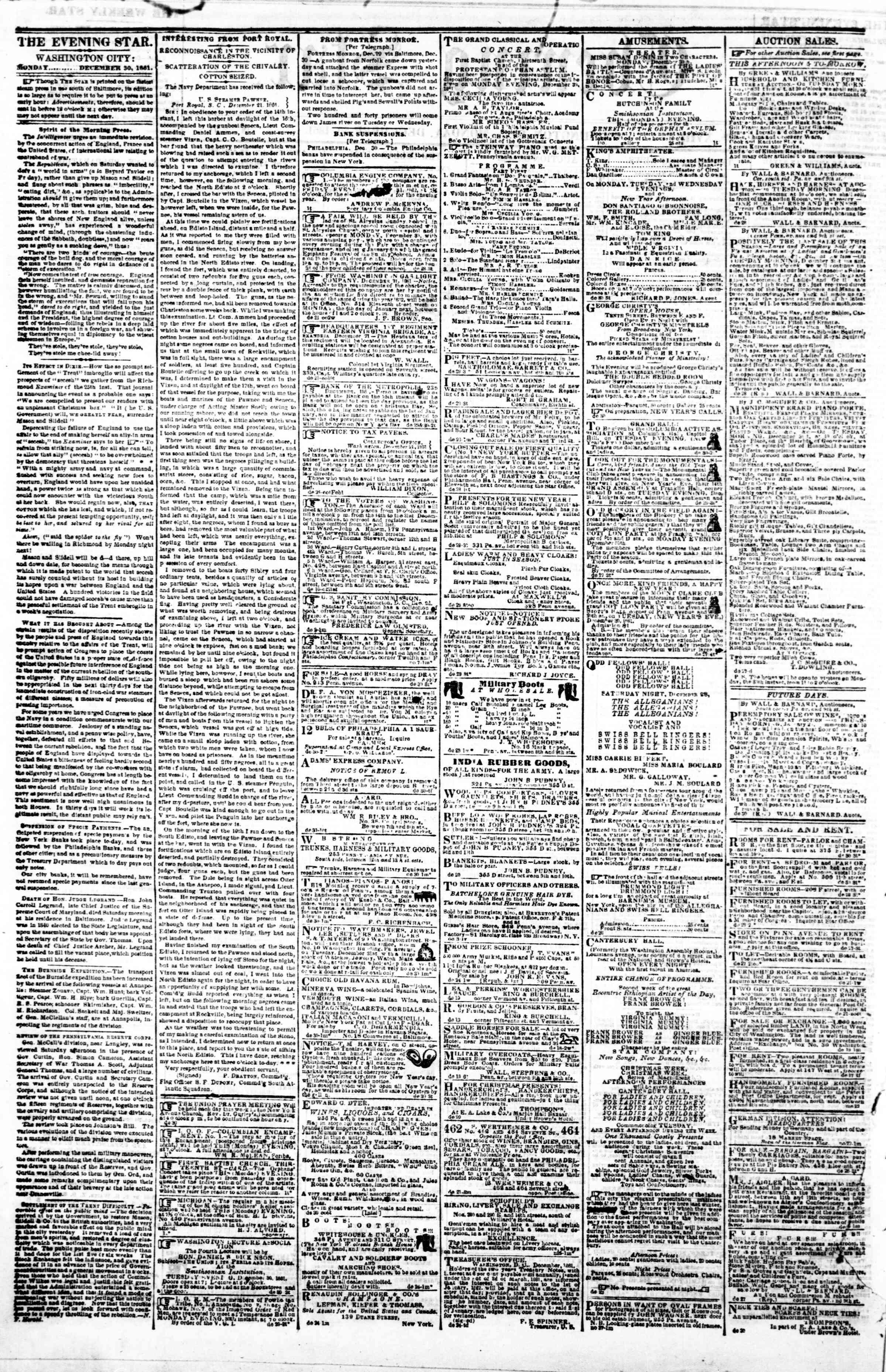 30 Aralık 1861 tarihli Evening Star Gazetesi Sayfa 2