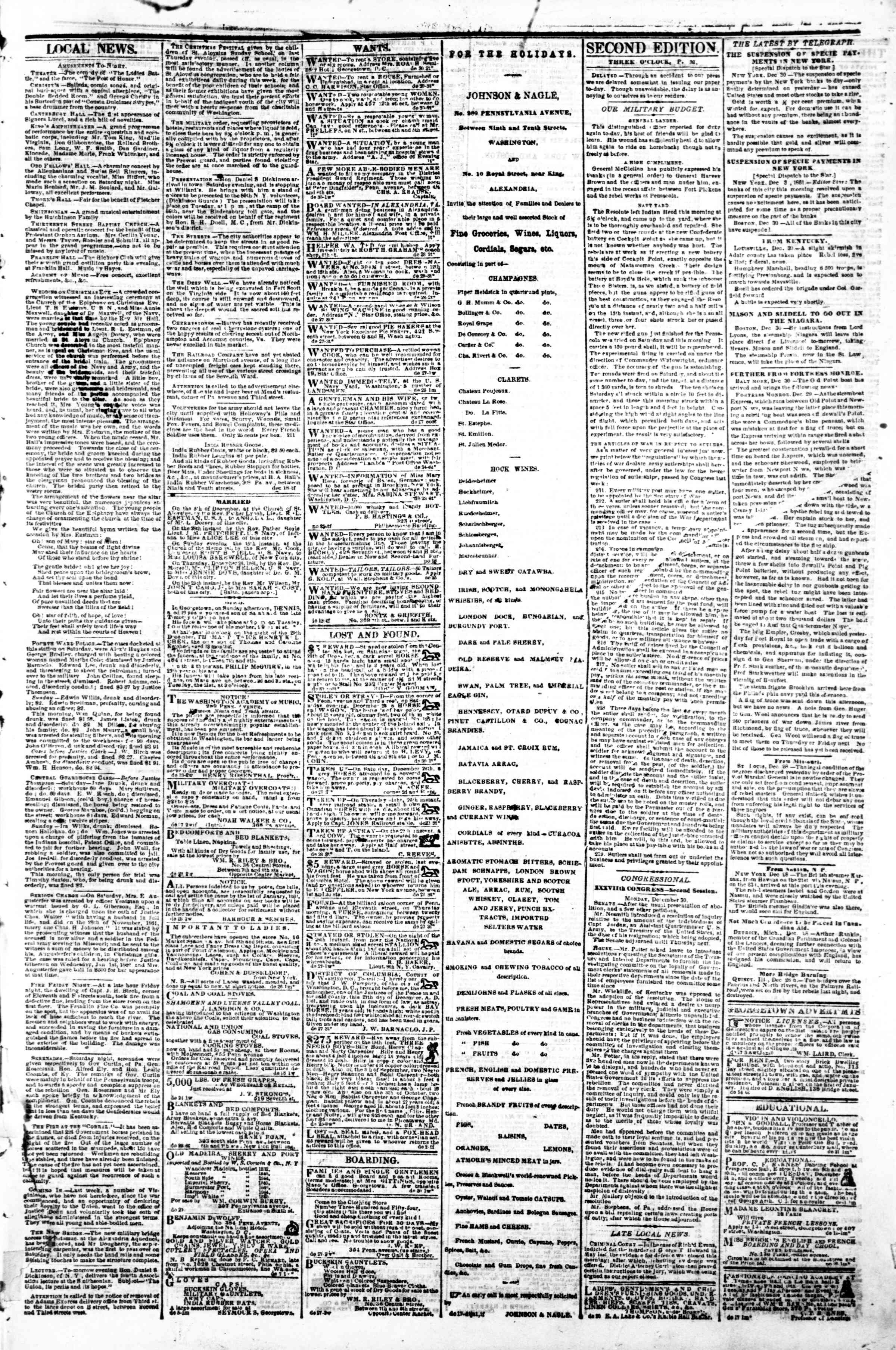 Newspaper of Evening Star dated December 30, 1861 Page 3