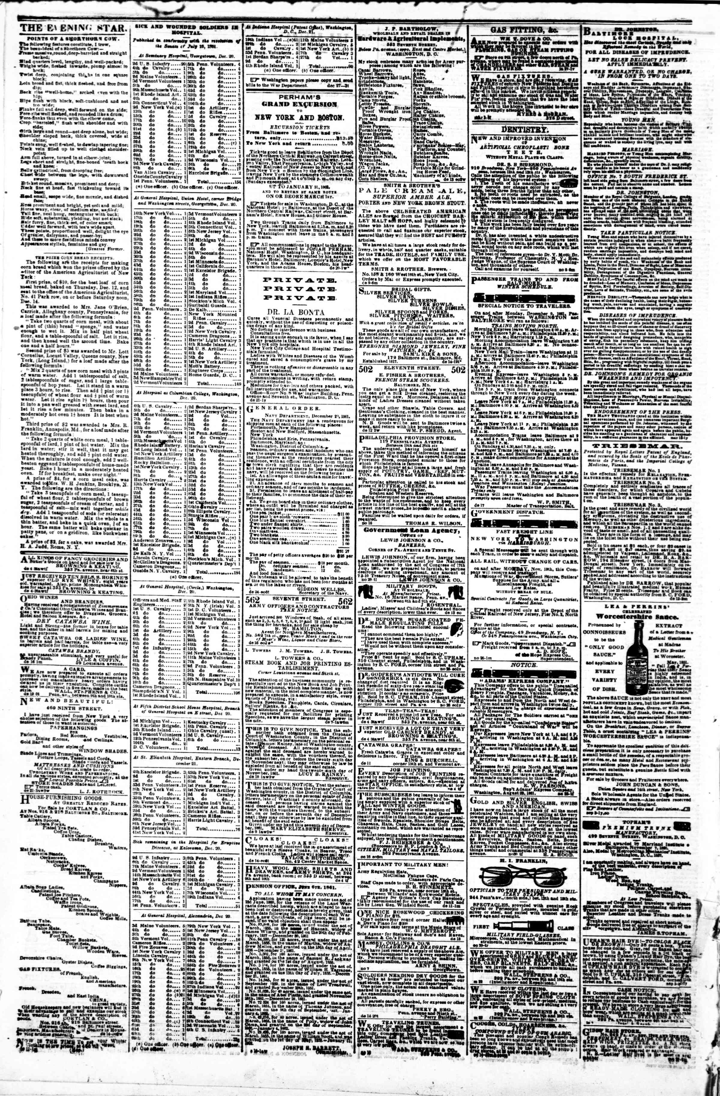 Newspaper of Evening Star dated December 30, 1861 Page 4