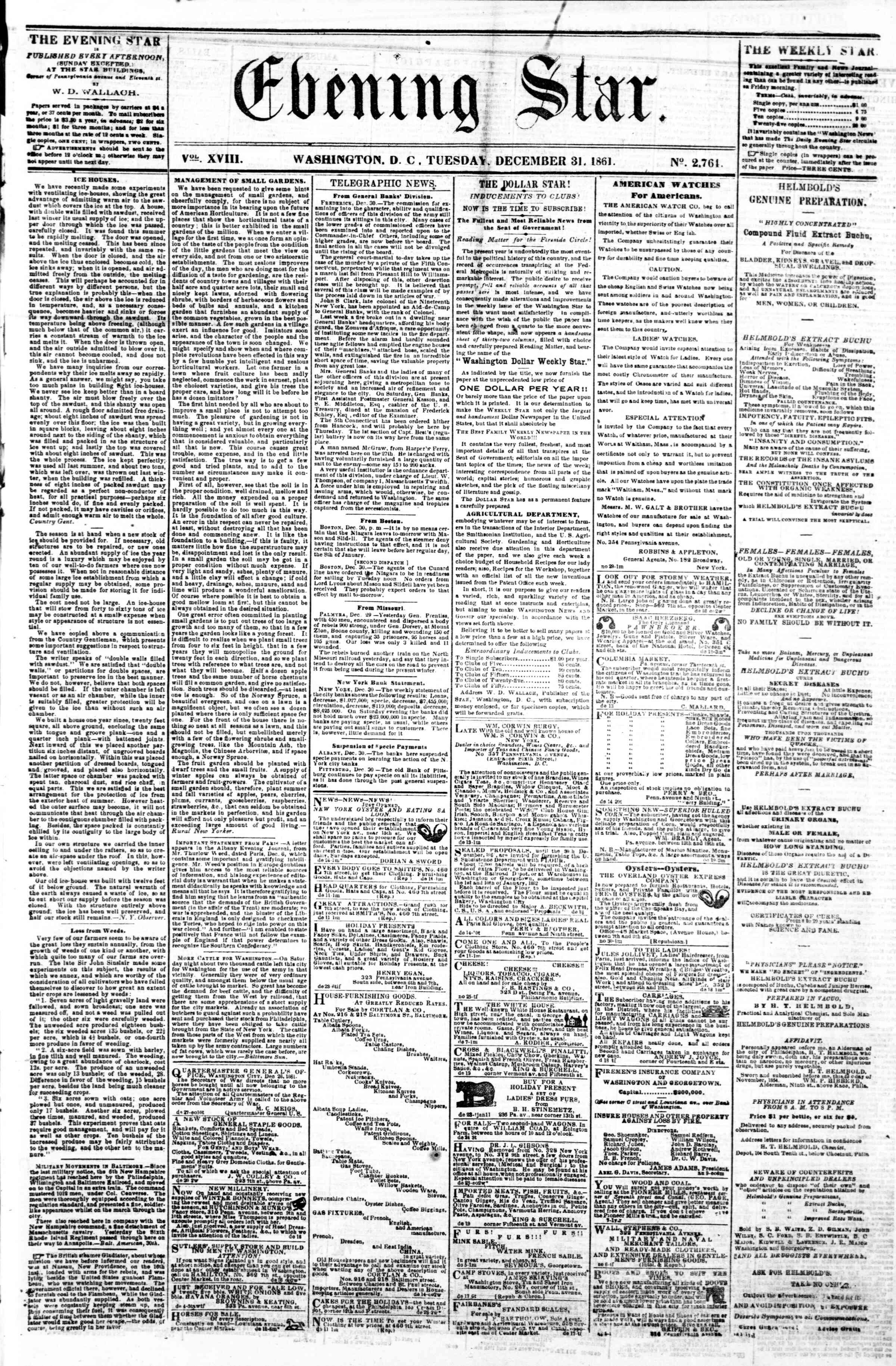 Newspaper of Evening Star dated December 31, 1861 Page 1