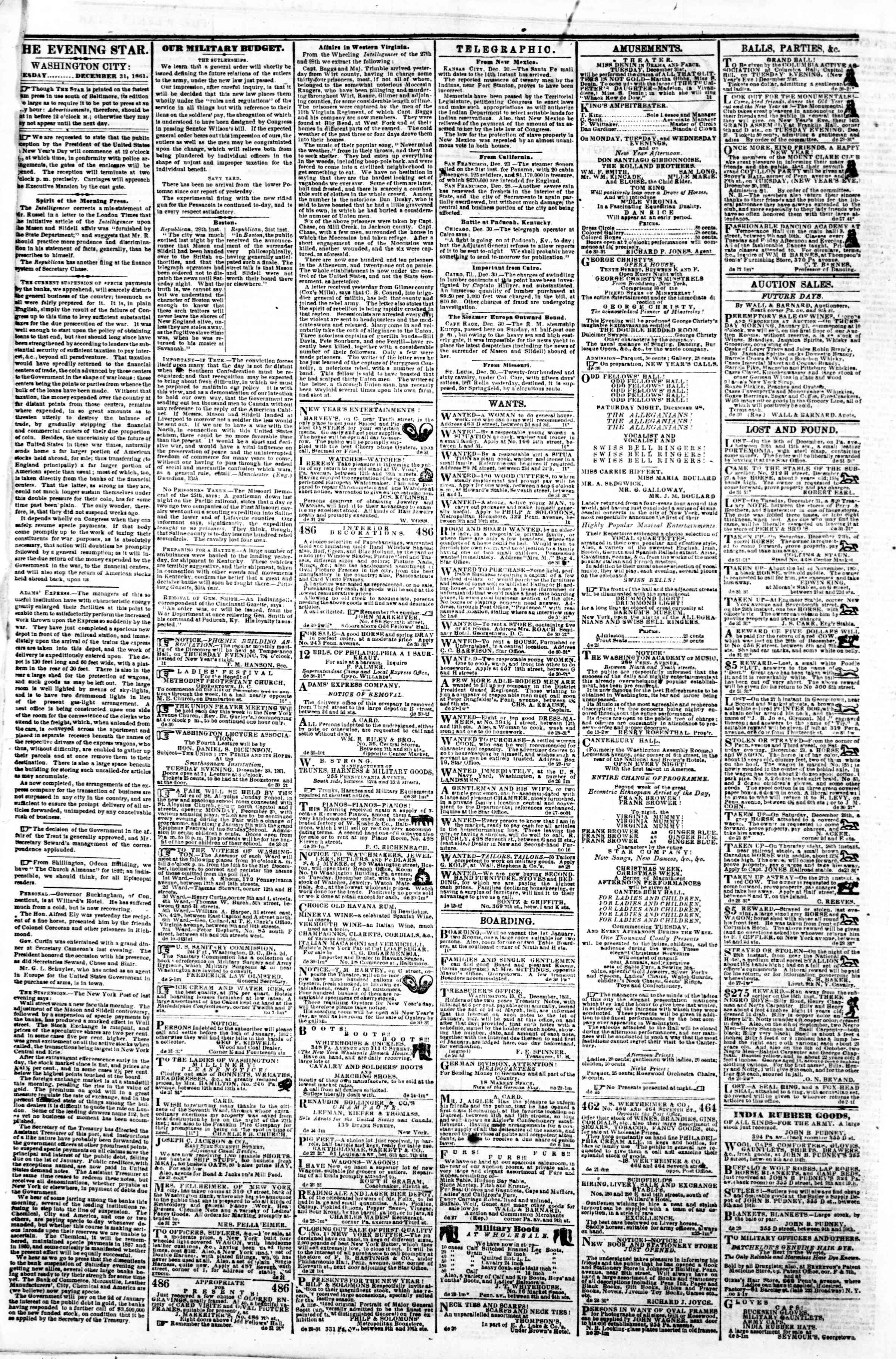 Newspaper of Evening Star dated December 31, 1861 Page 2