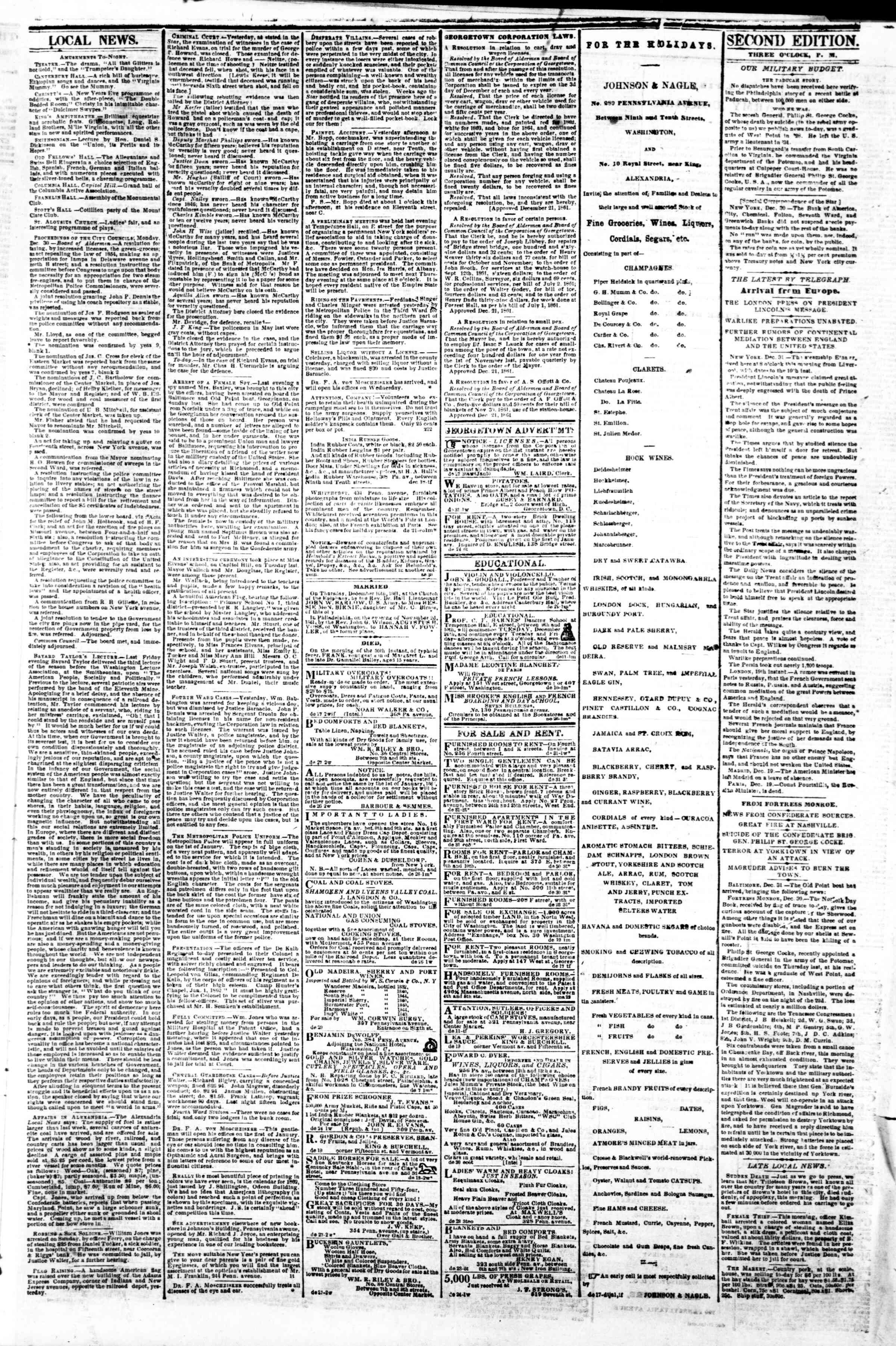 Newspaper of Evening Star dated December 31, 1861 Page 3