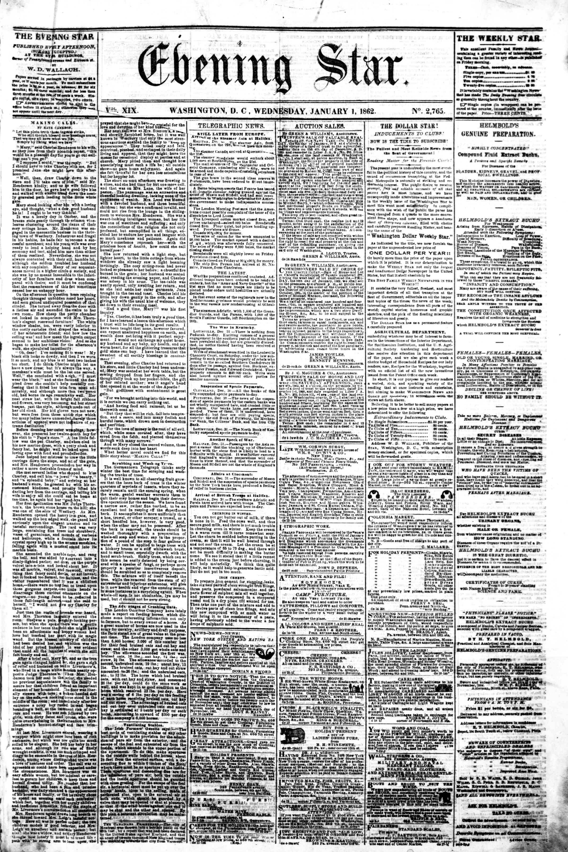 Newspaper of Evening Star dated January 1, 1862 Page 1