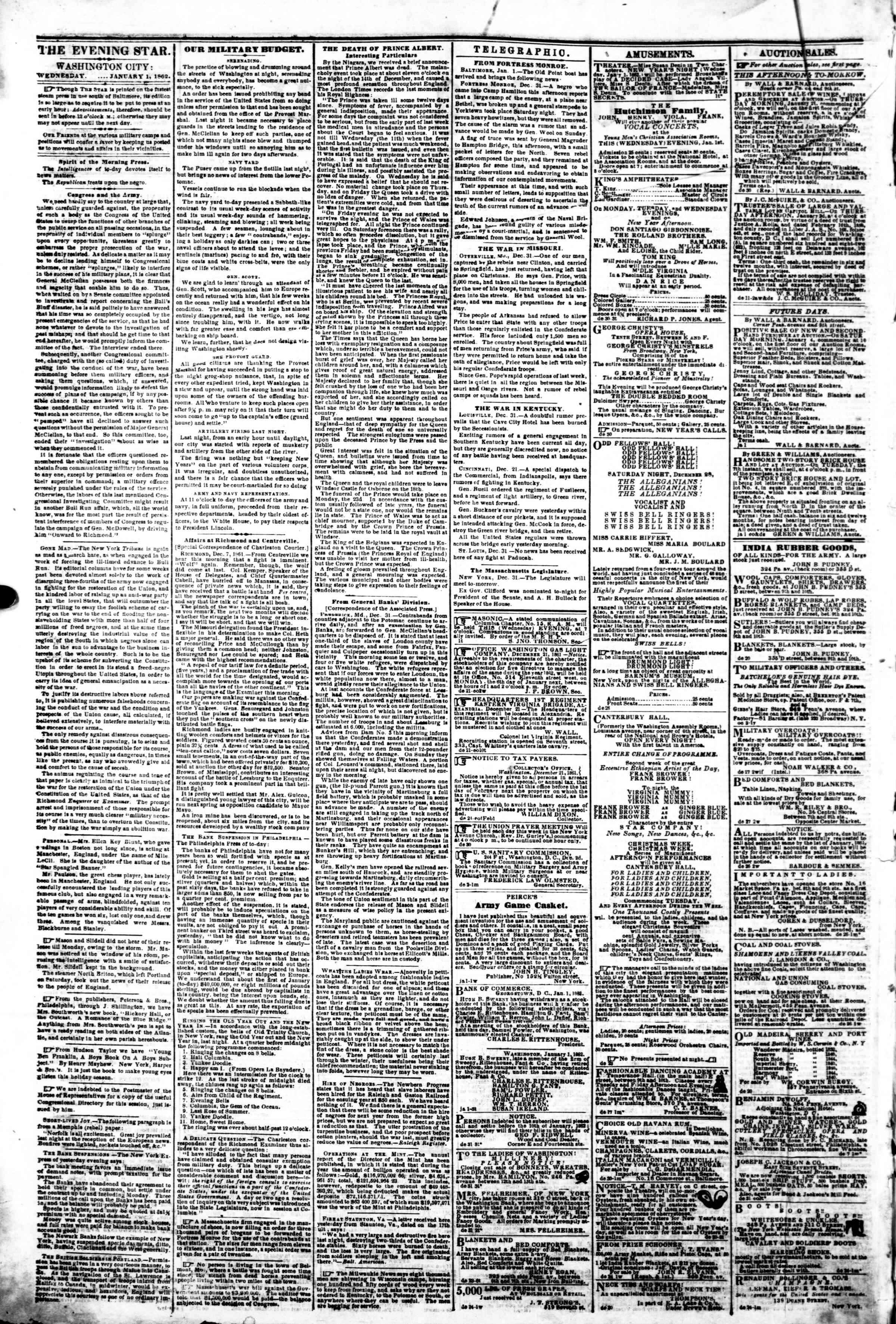 Newspaper of Evening Star dated January 1, 1862 Page 2