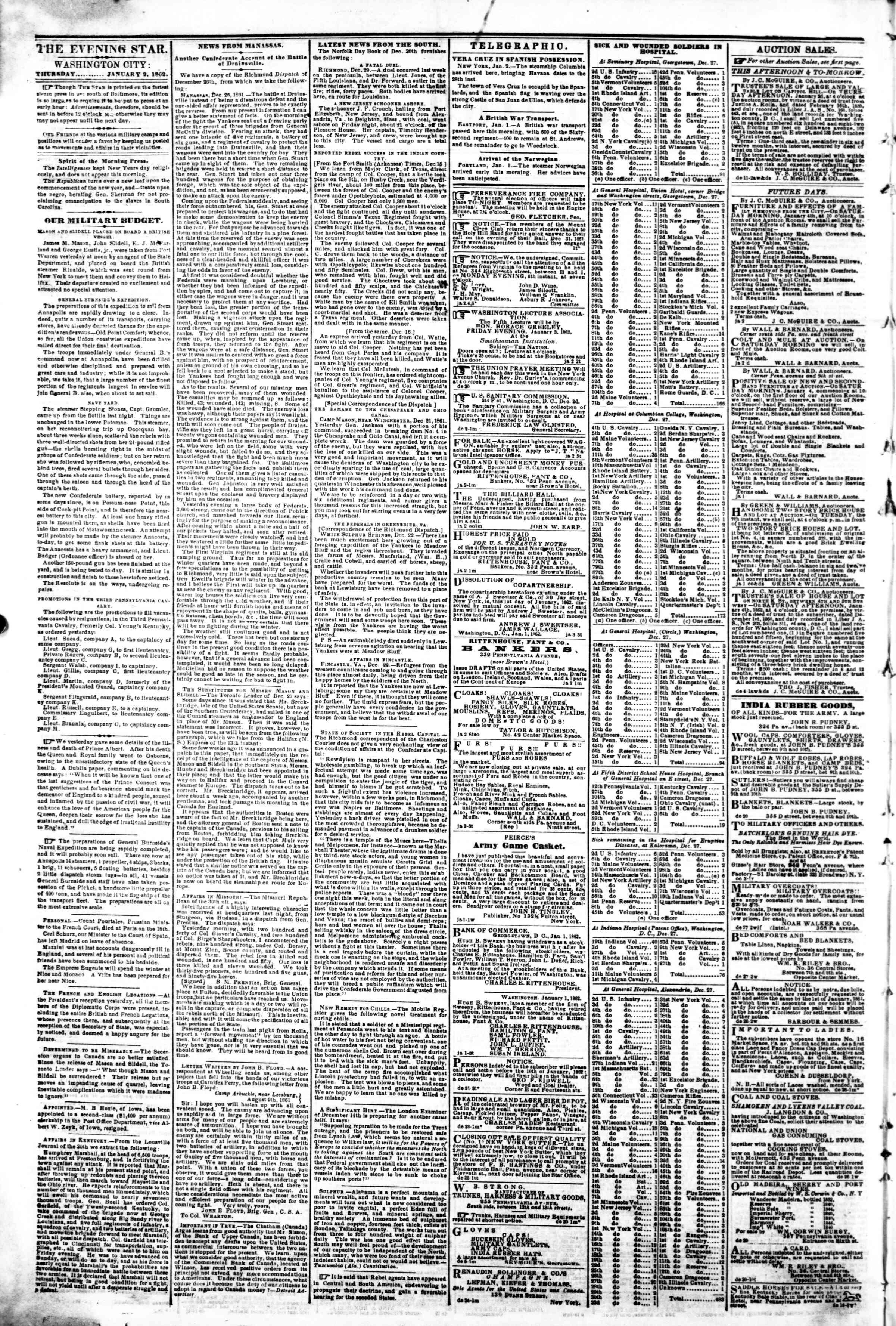 Newspaper of Evening Star dated January 2, 1862 Page 2