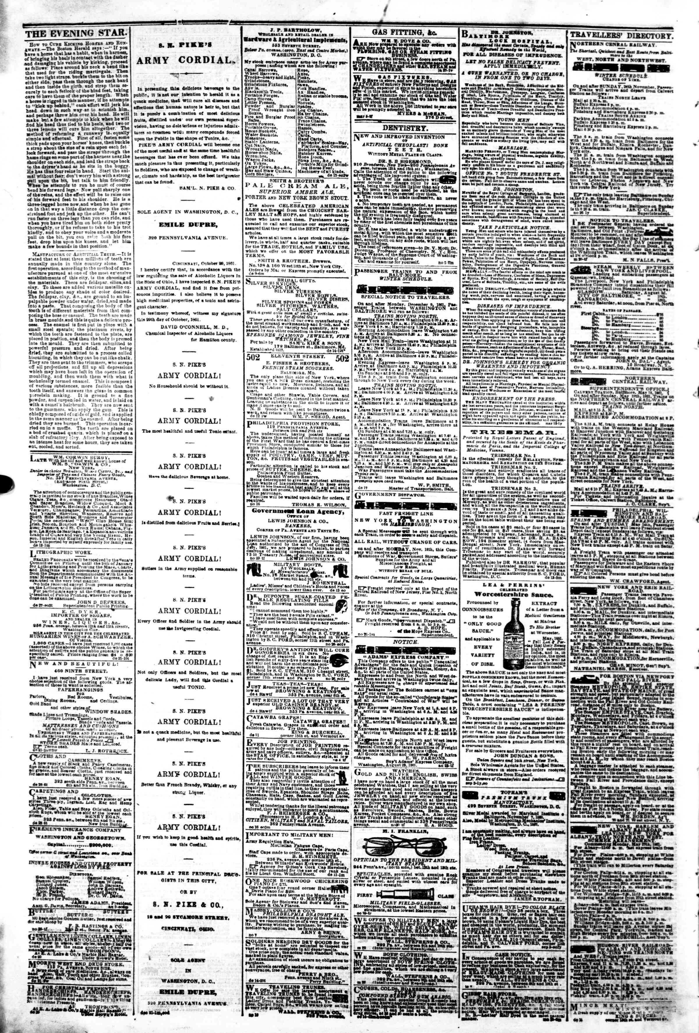 Newspaper of Evening Star dated January 2, 1862 Page 4