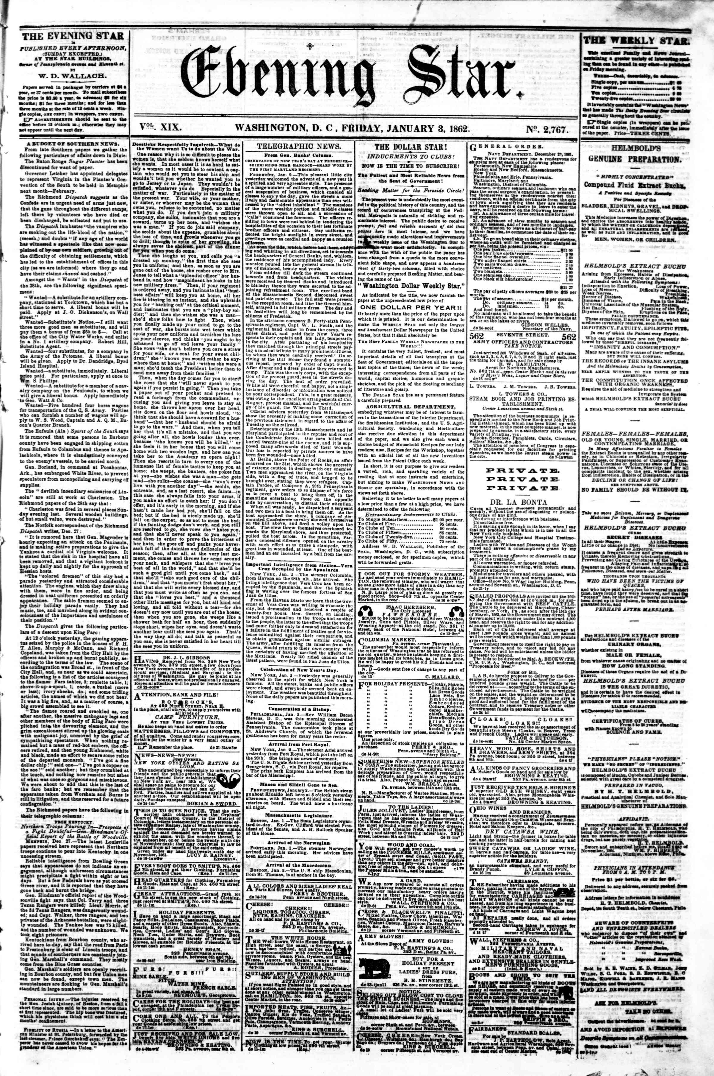 Newspaper of Evening Star dated January 3, 1862 Page 1