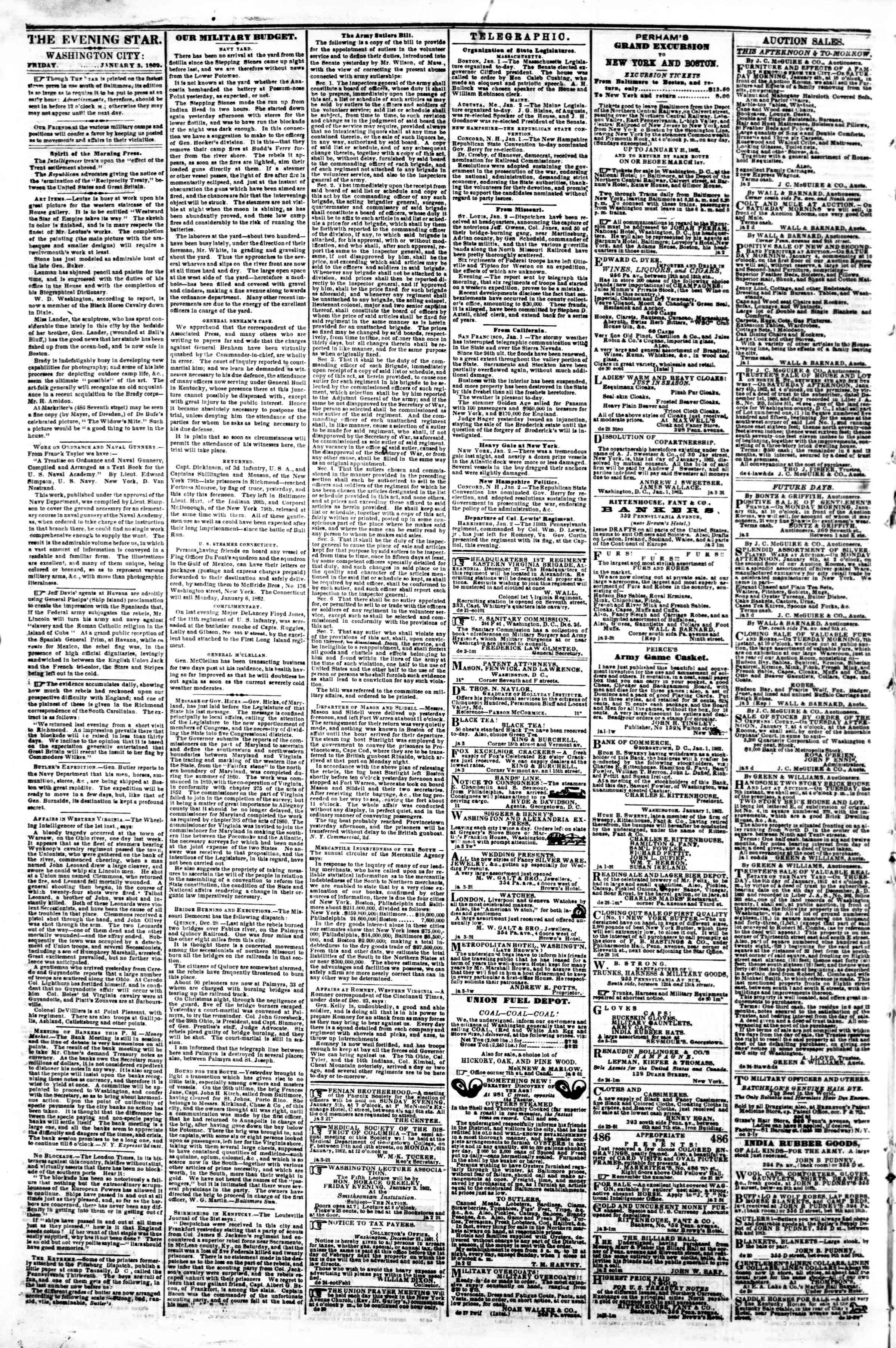 Newspaper of Evening Star dated January 3, 1862 Page 2