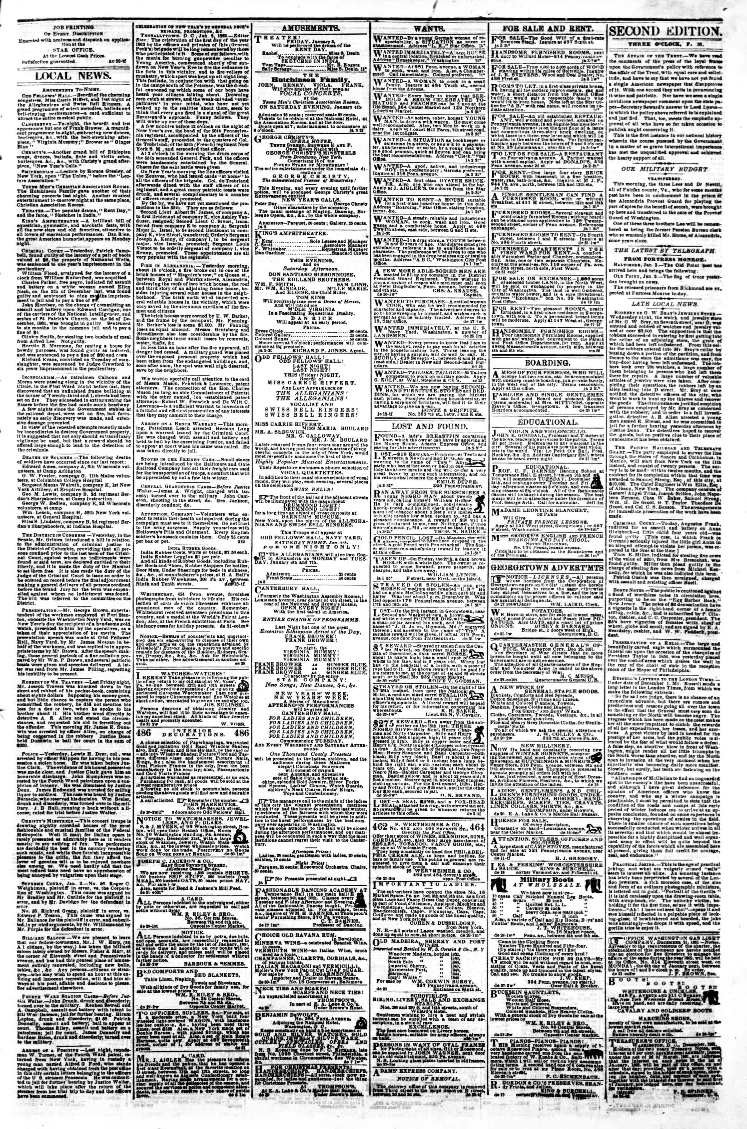 Newspaper of Evening Star dated January 3, 1862 Page 3