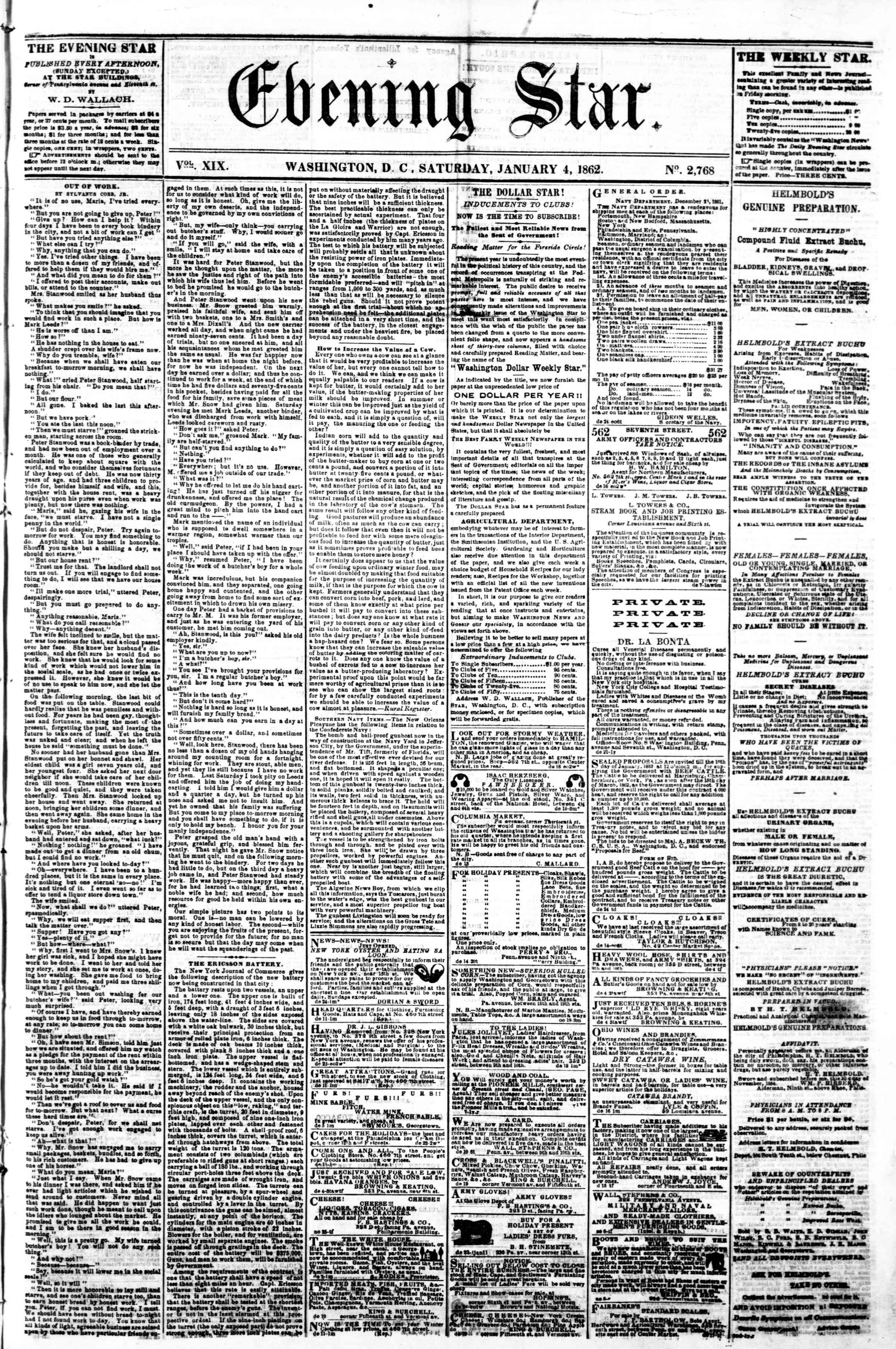 Newspaper of Evening Star dated January 4, 1862 Page 1
