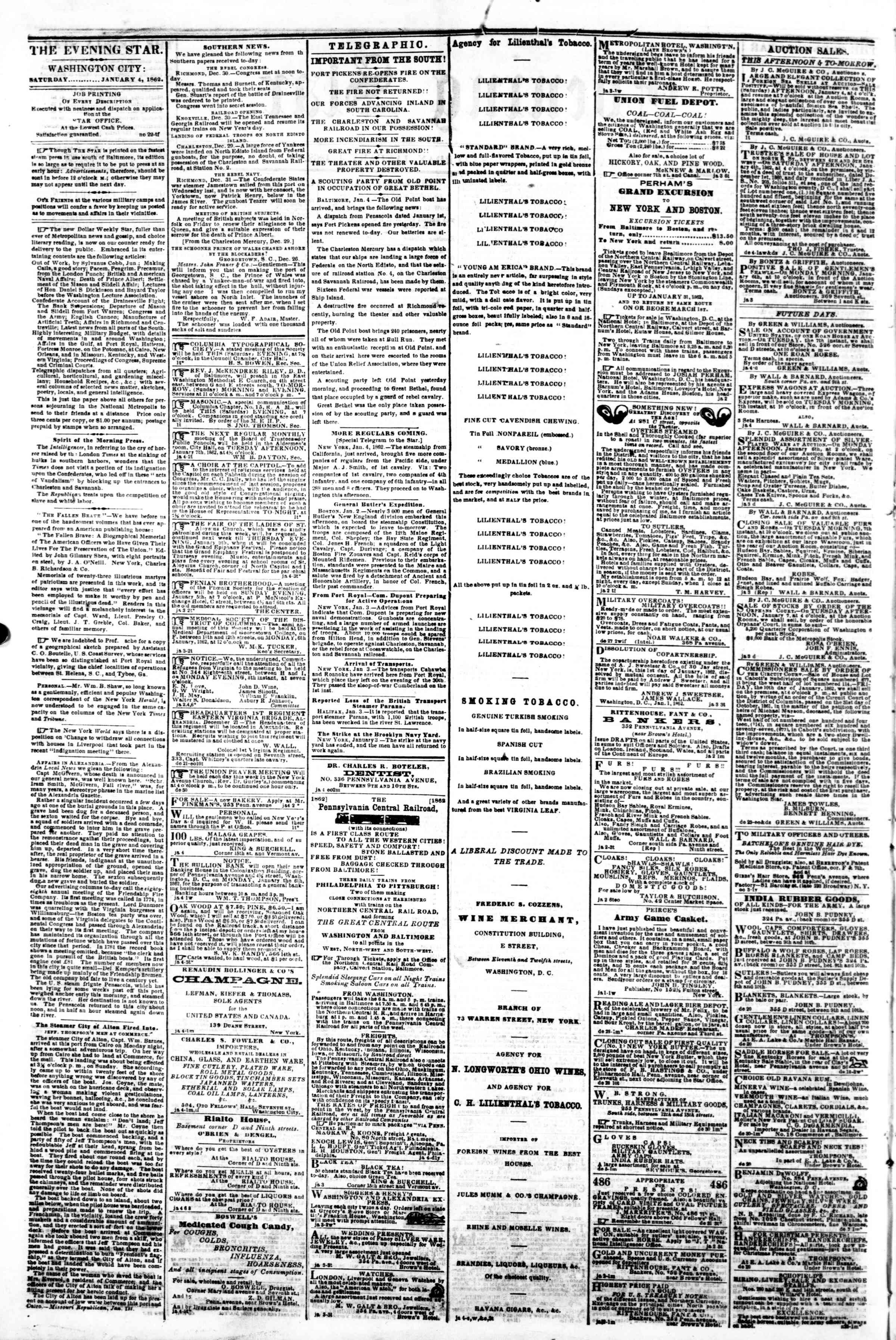 Newspaper of Evening Star dated January 4, 1862 Page 2