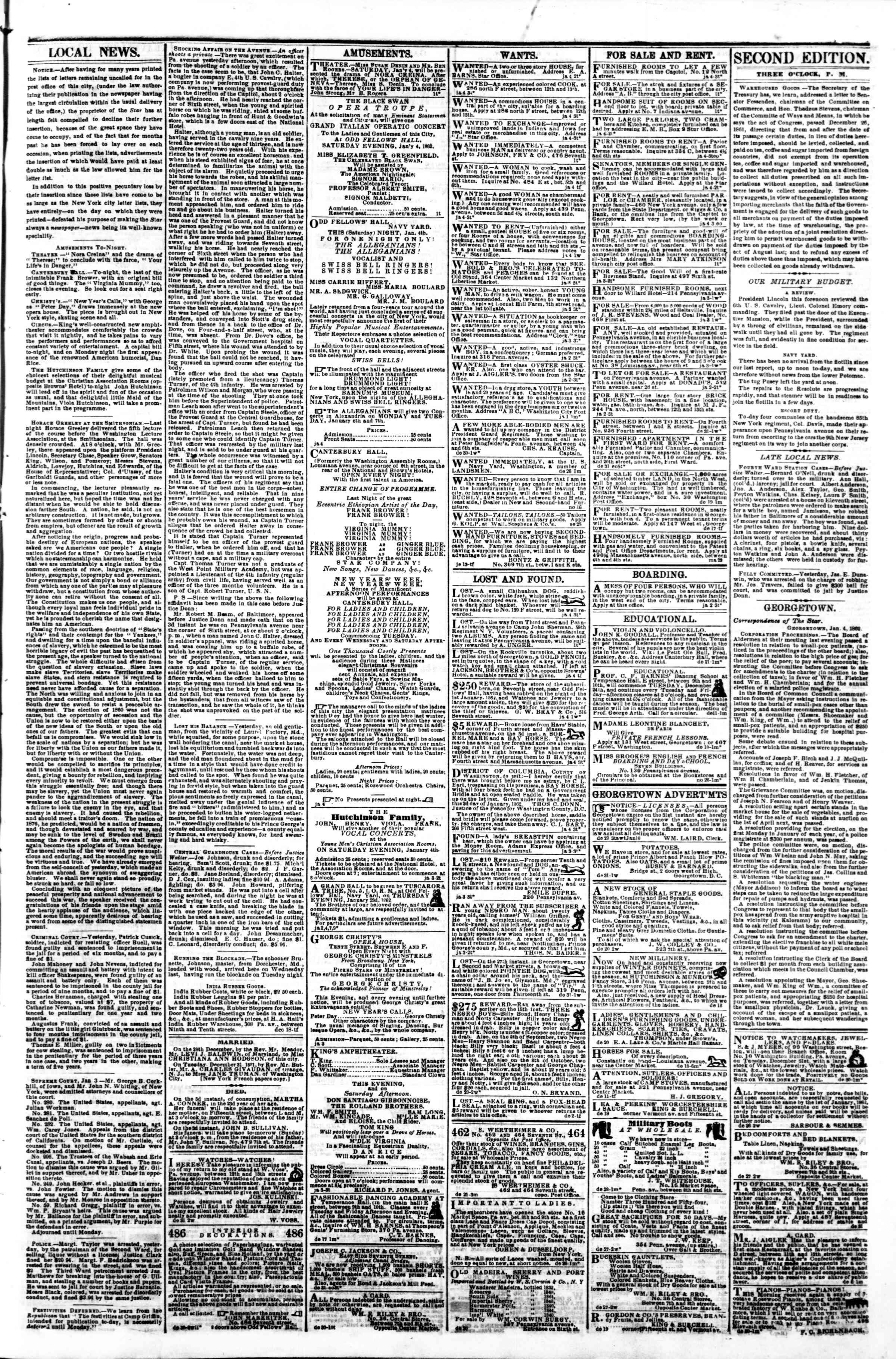 4 Ocak 1862 tarihli Evening Star Gazetesi Sayfa 3