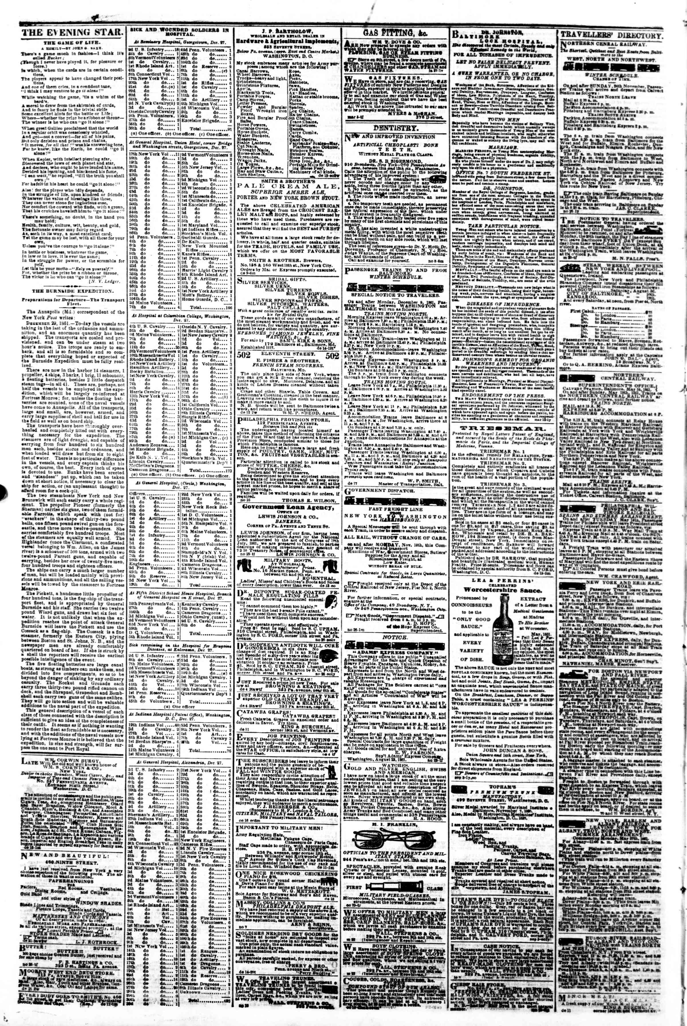 Newspaper of Evening Star dated January 4, 1862 Page 4