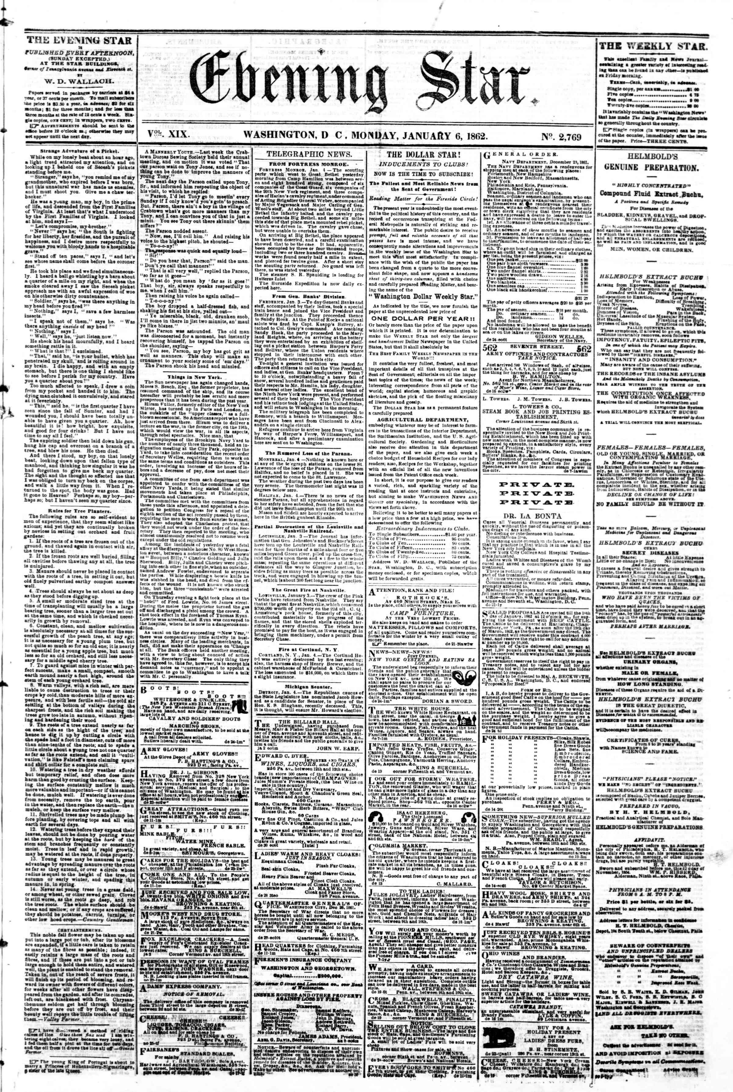 Newspaper of Evening Star dated January 6, 1862 Page 1