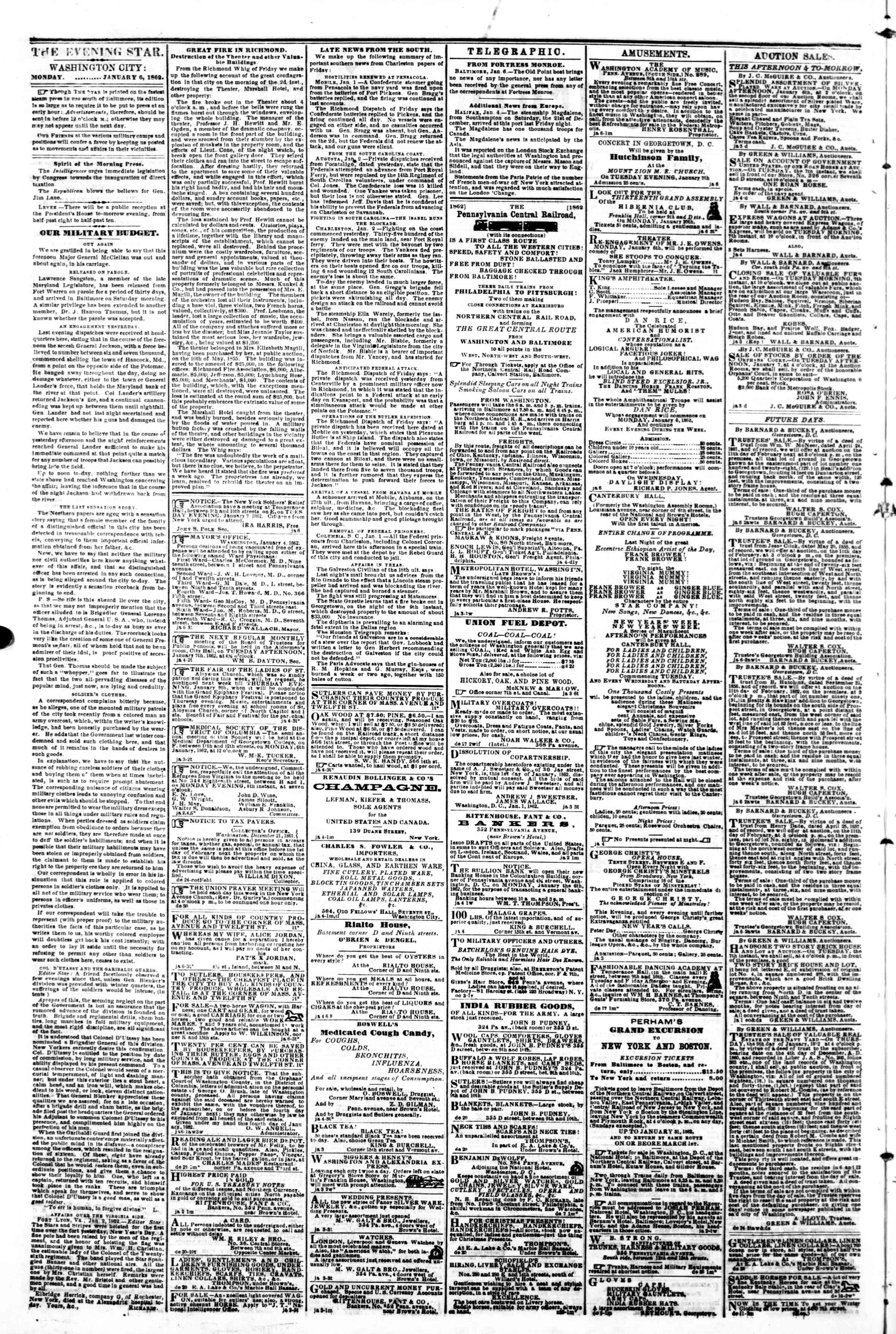 Newspaper of Evening Star dated January 6, 1862 Page 2