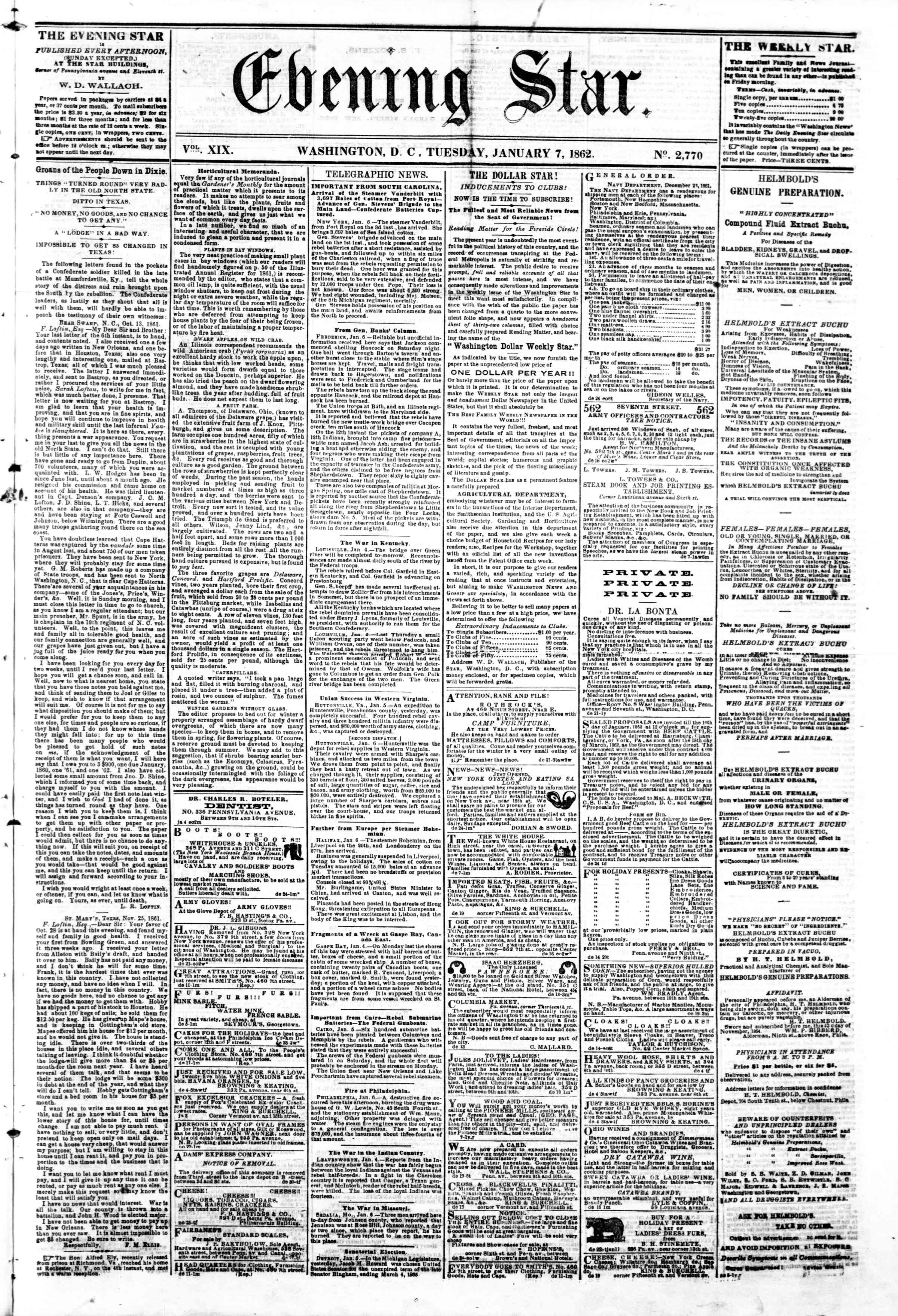 Newspaper of Evening Star dated January 7, 1862 Page 1