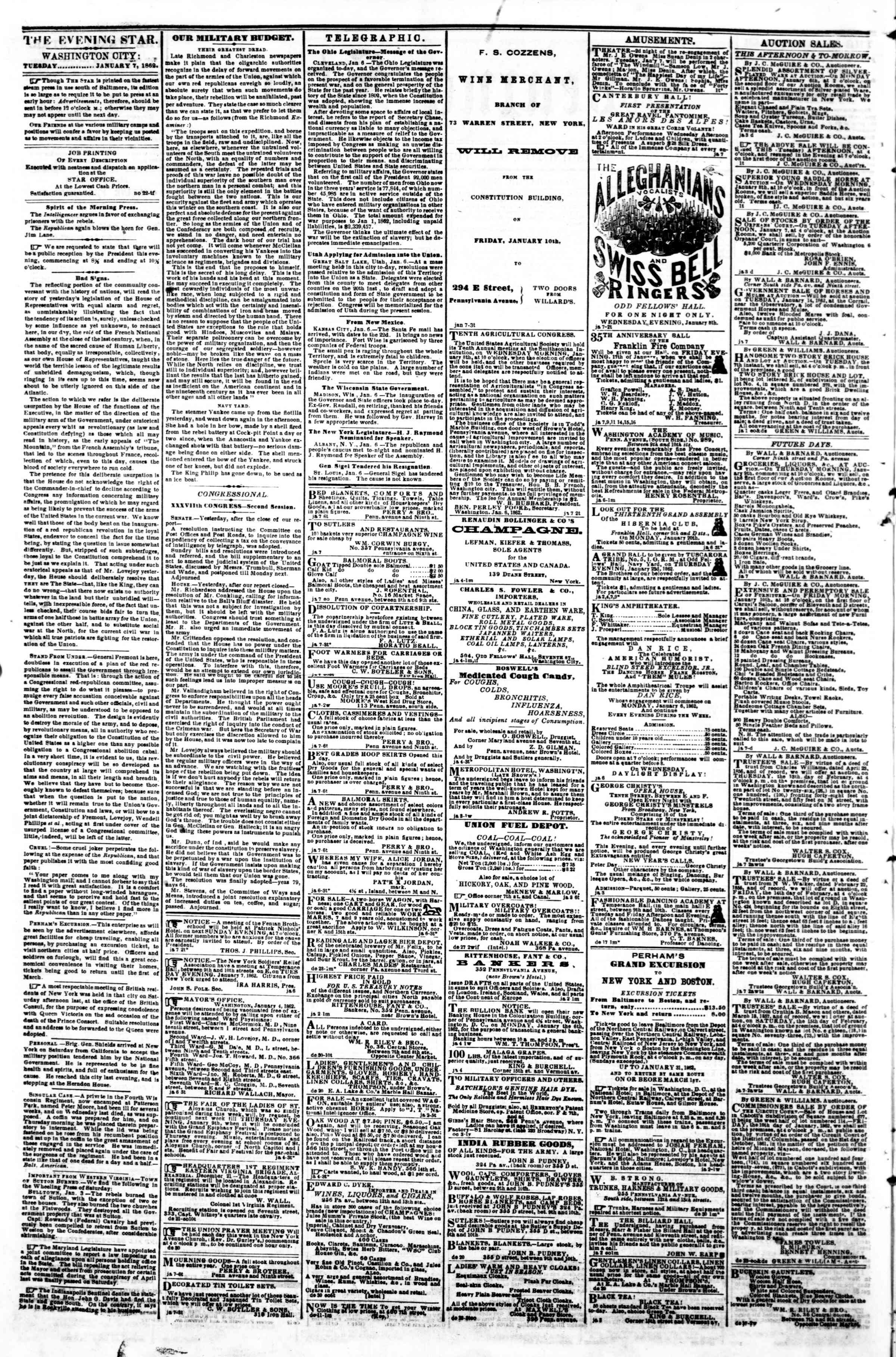 Newspaper of Evening Star dated January 7, 1862 Page 2