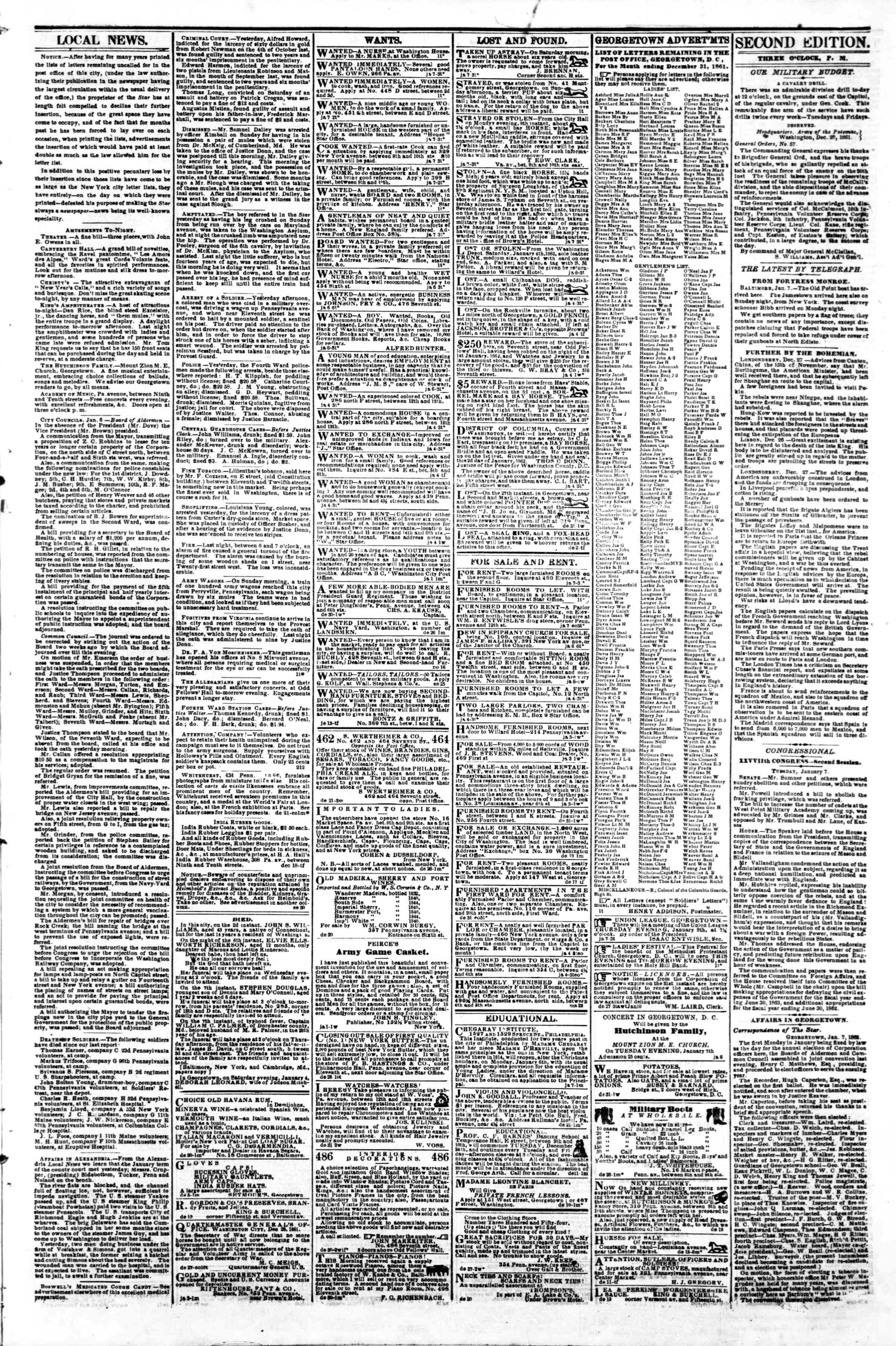 Newspaper of Evening Star dated January 7, 1862 Page 3