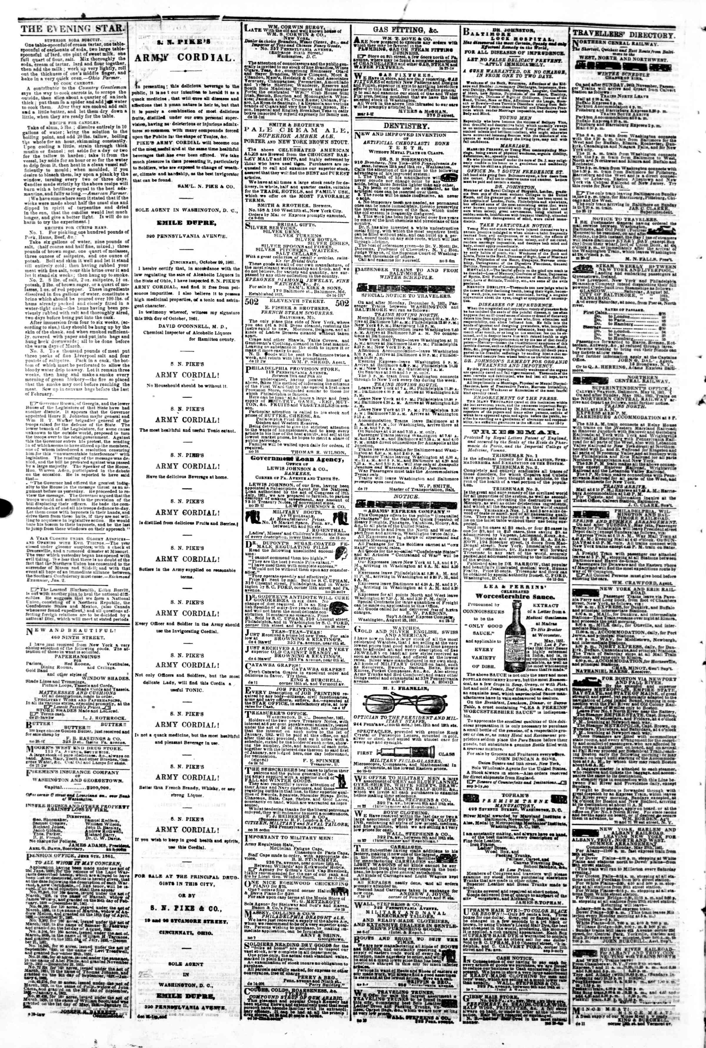 Newspaper of Evening Star dated January 7, 1862 Page 4