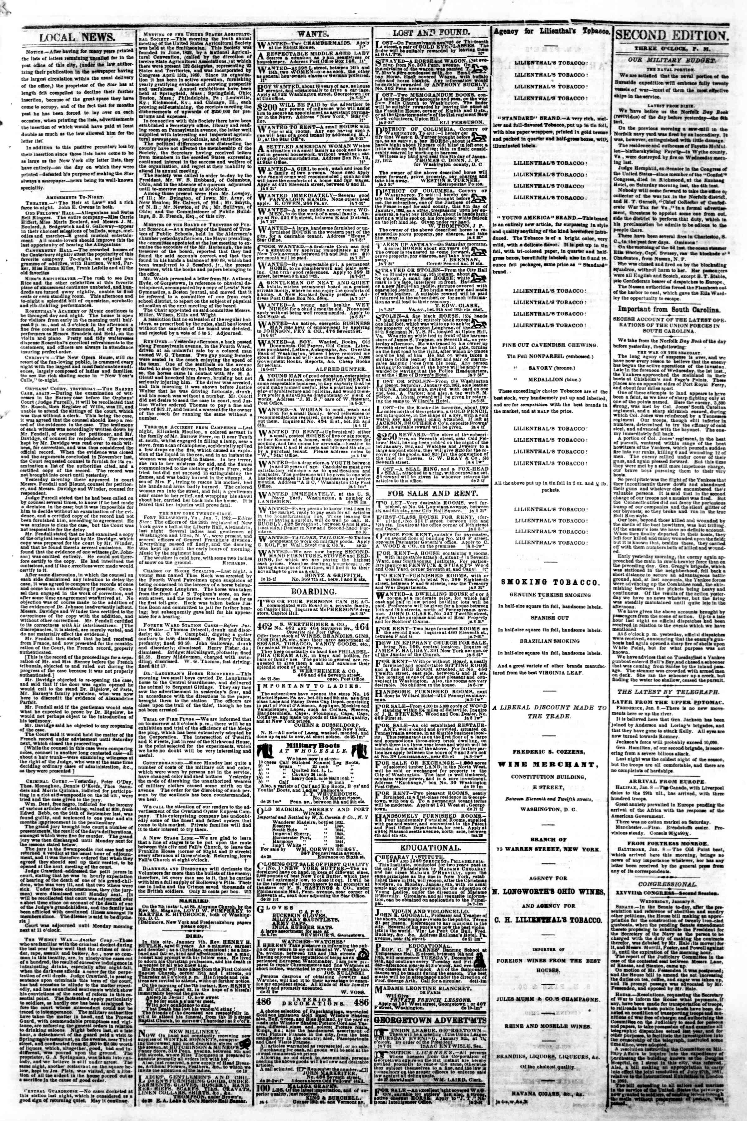 Newspaper of Evening Star dated January 8, 1862 Page 3
