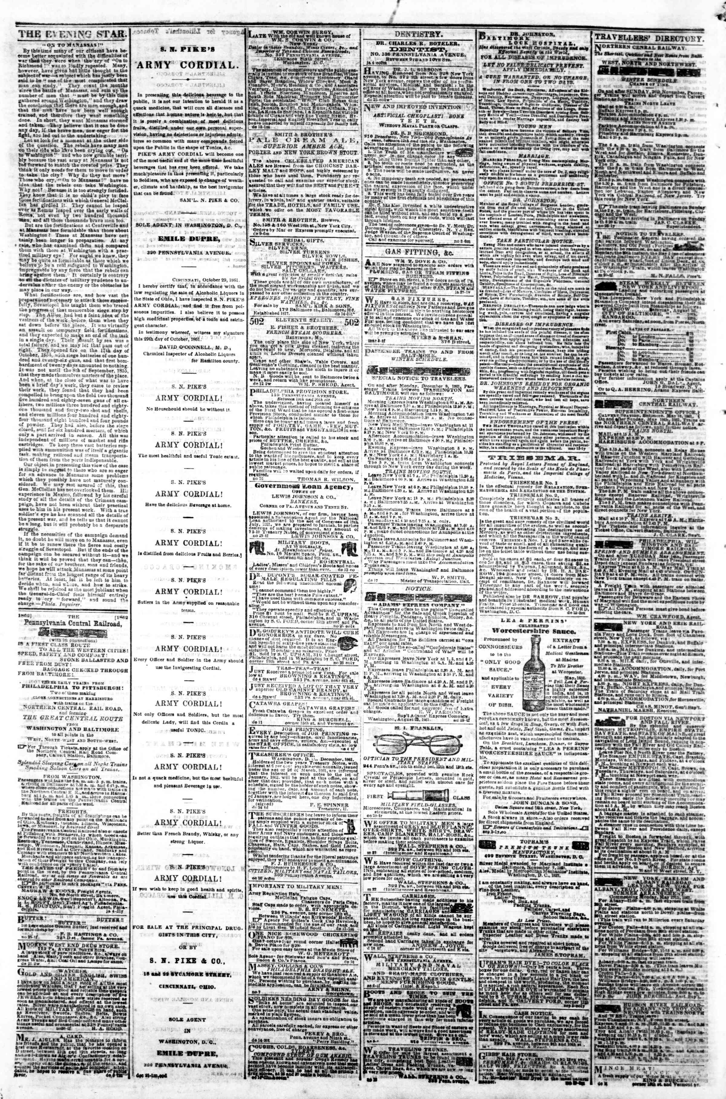Newspaper of Evening Star dated January 8, 1862 Page 4