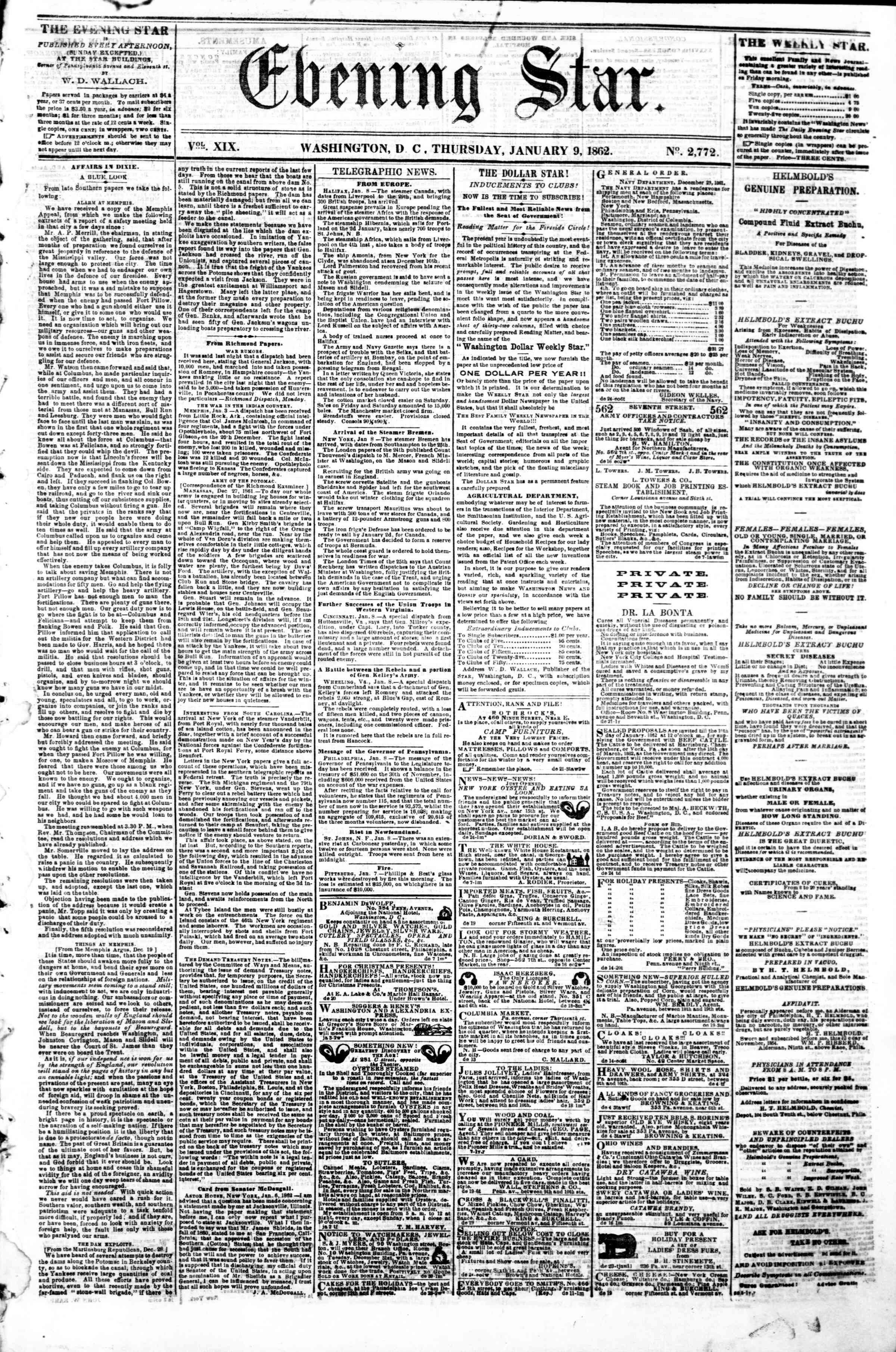 Newspaper of Evening Star dated January 9, 1862 Page 1