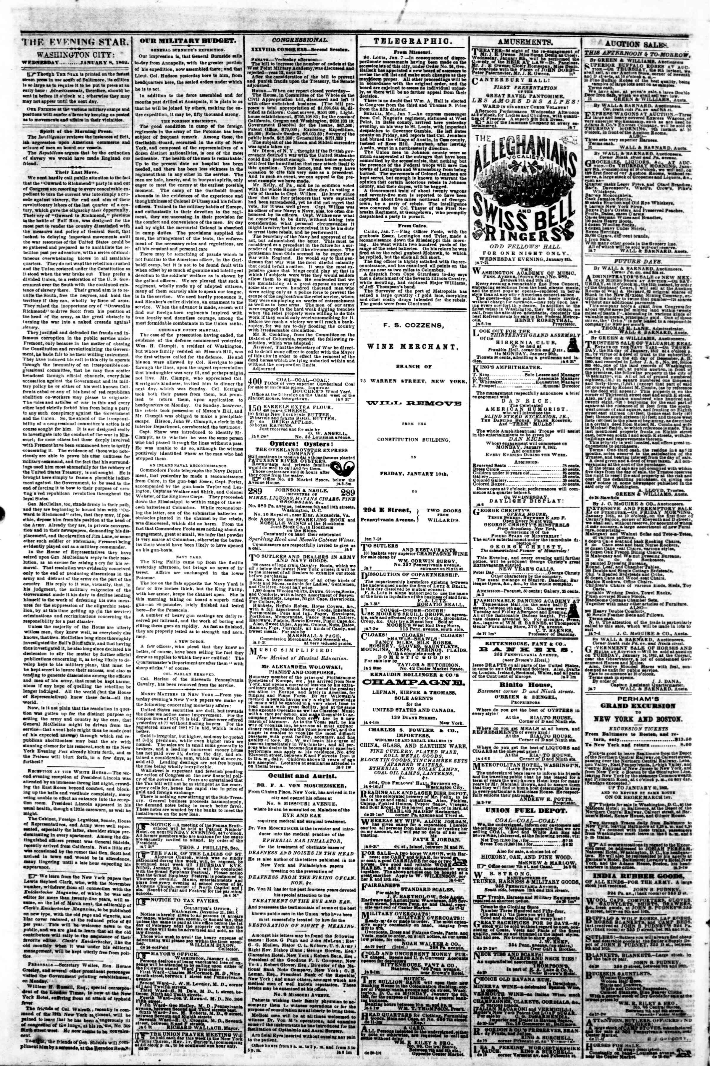 Newspaper of Evening Star dated January 9, 1862 Page 2