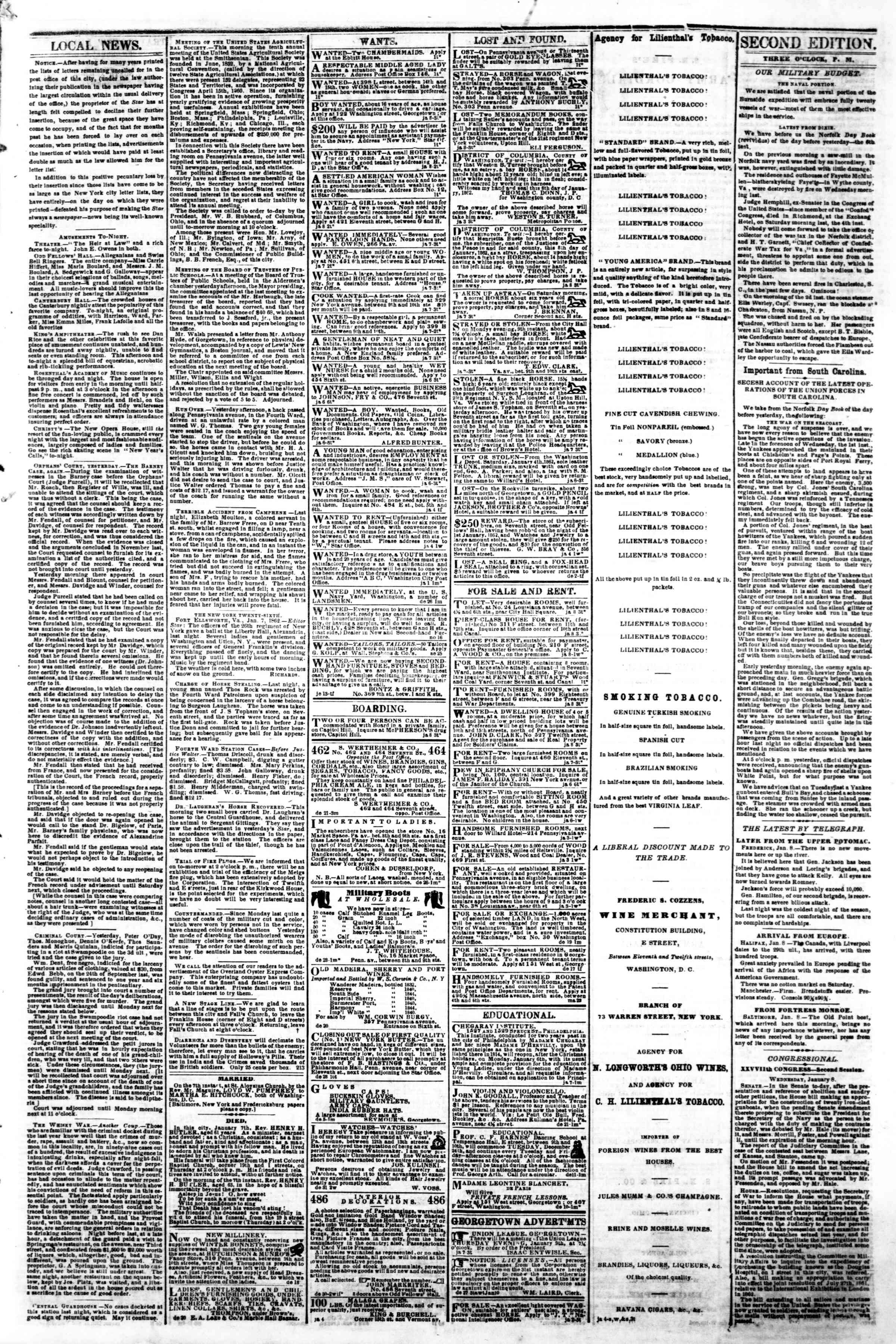 Newspaper of Evening Star dated January 9, 1862 Page 3