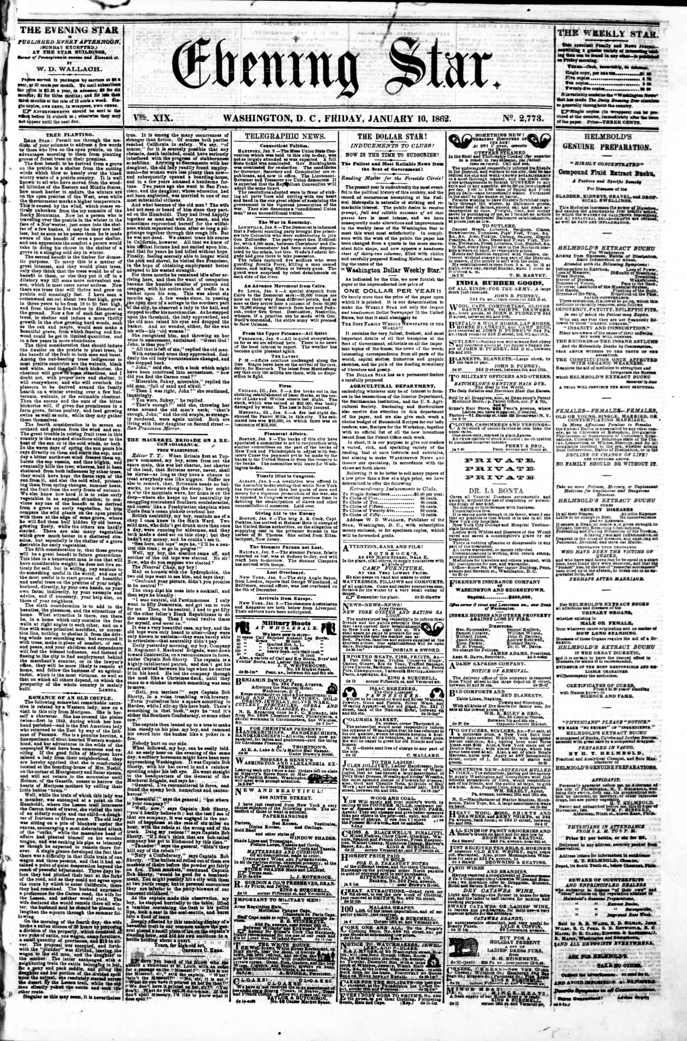 Newspaper of Evening Star dated January 10, 1862 Page 1