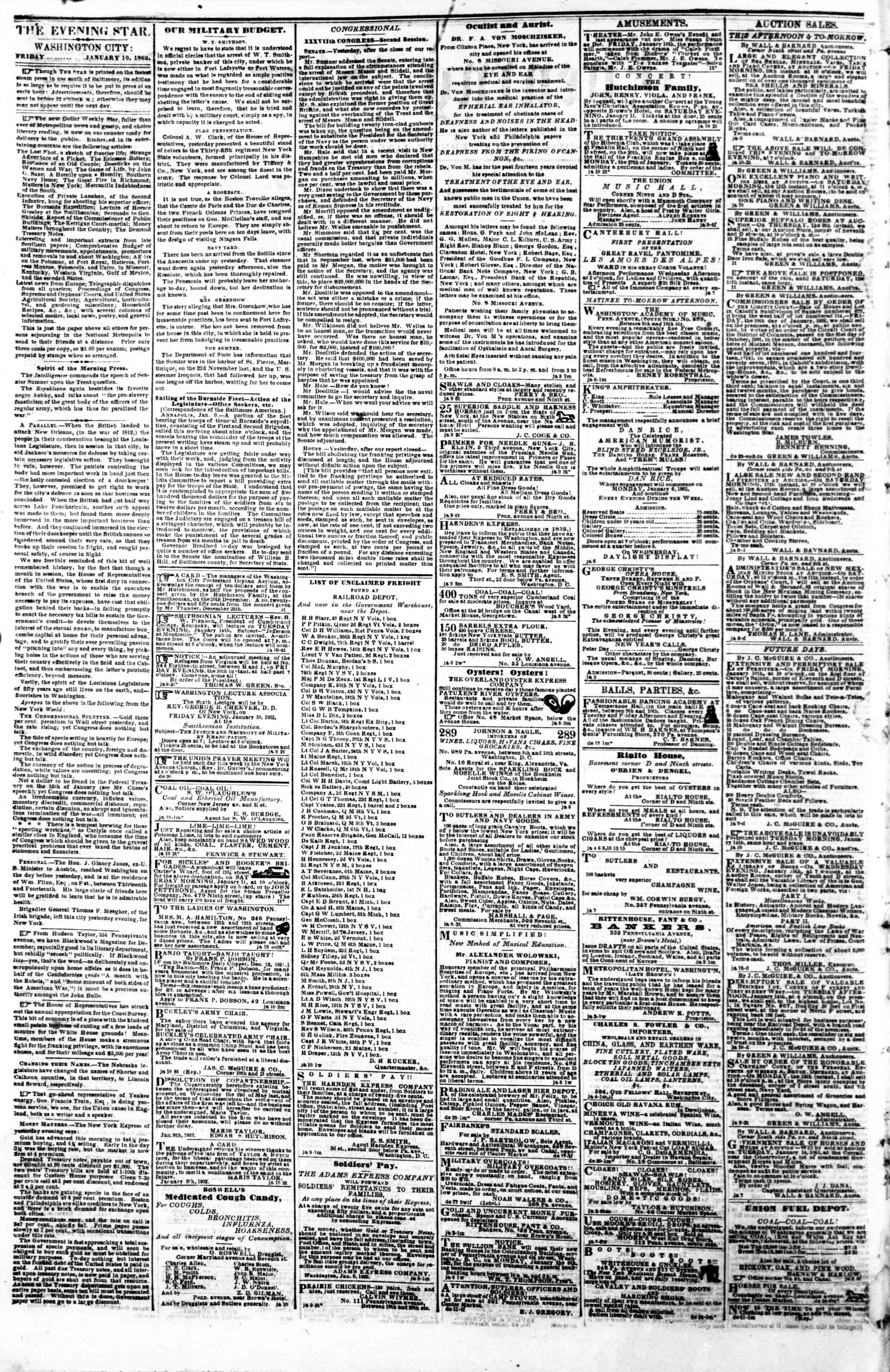 Newspaper of Evening Star dated January 10, 1862 Page 2