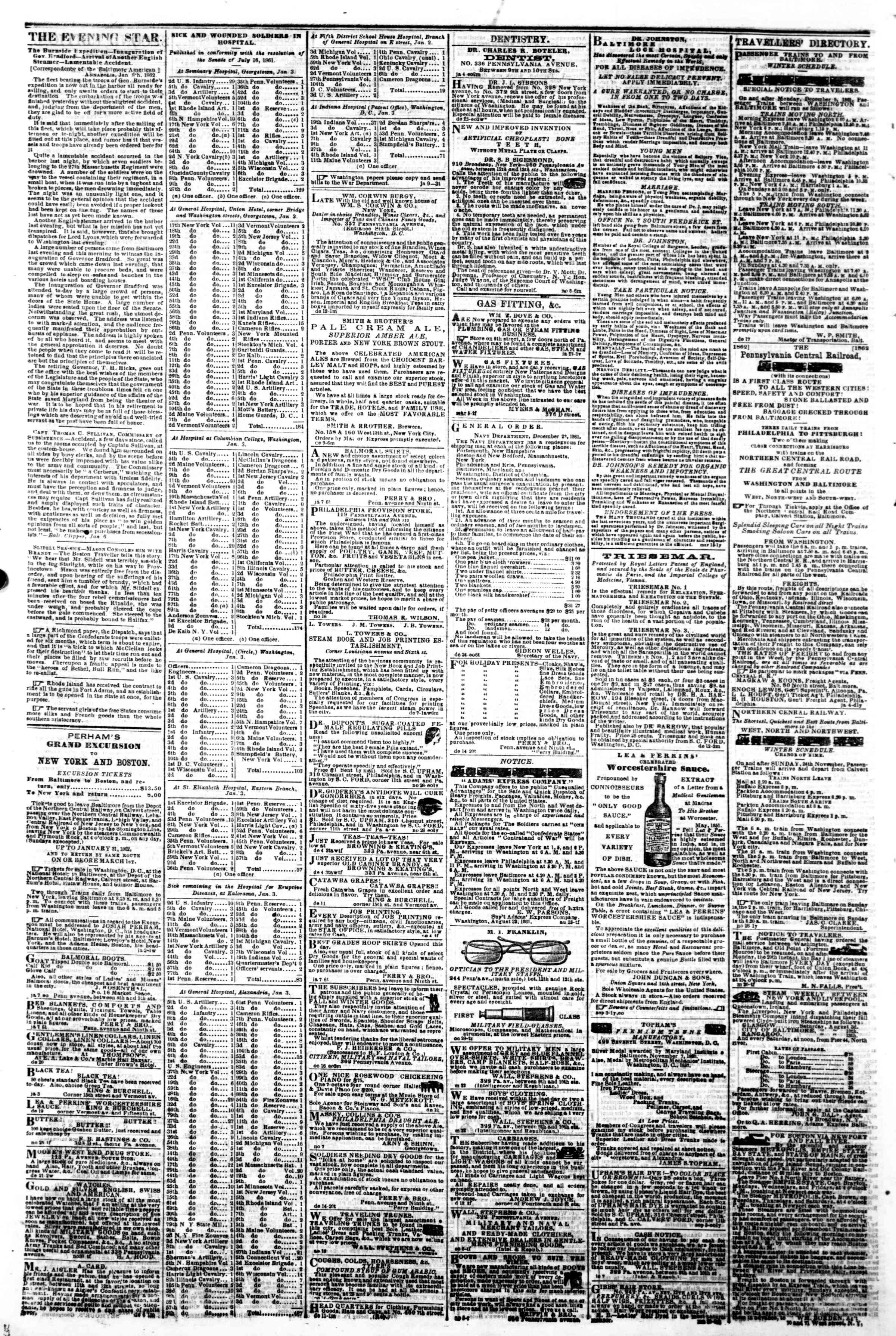 Newspaper of Evening Star dated January 10, 1862 Page 4