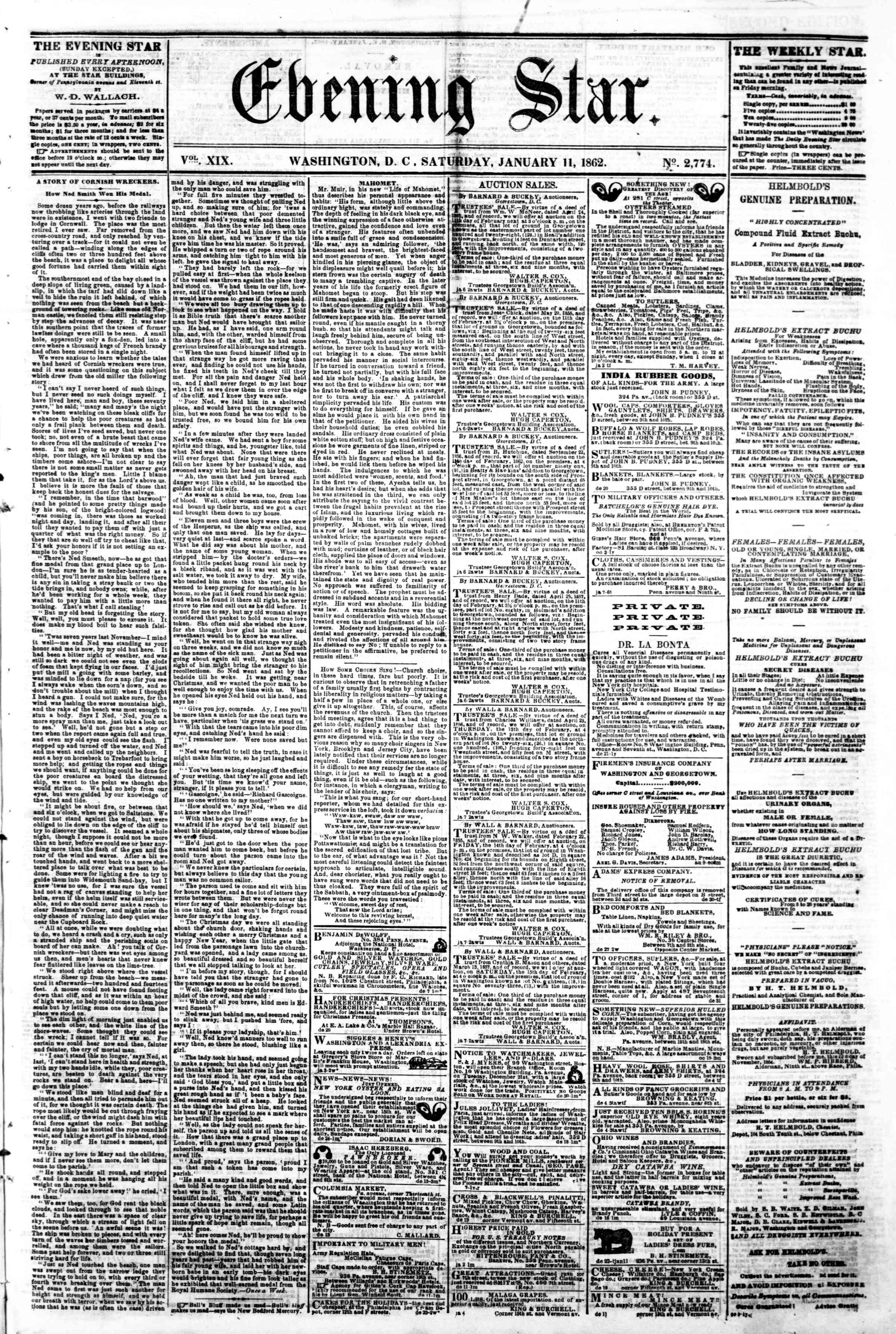 Newspaper of Evening Star dated January 11, 1862 Page 1
