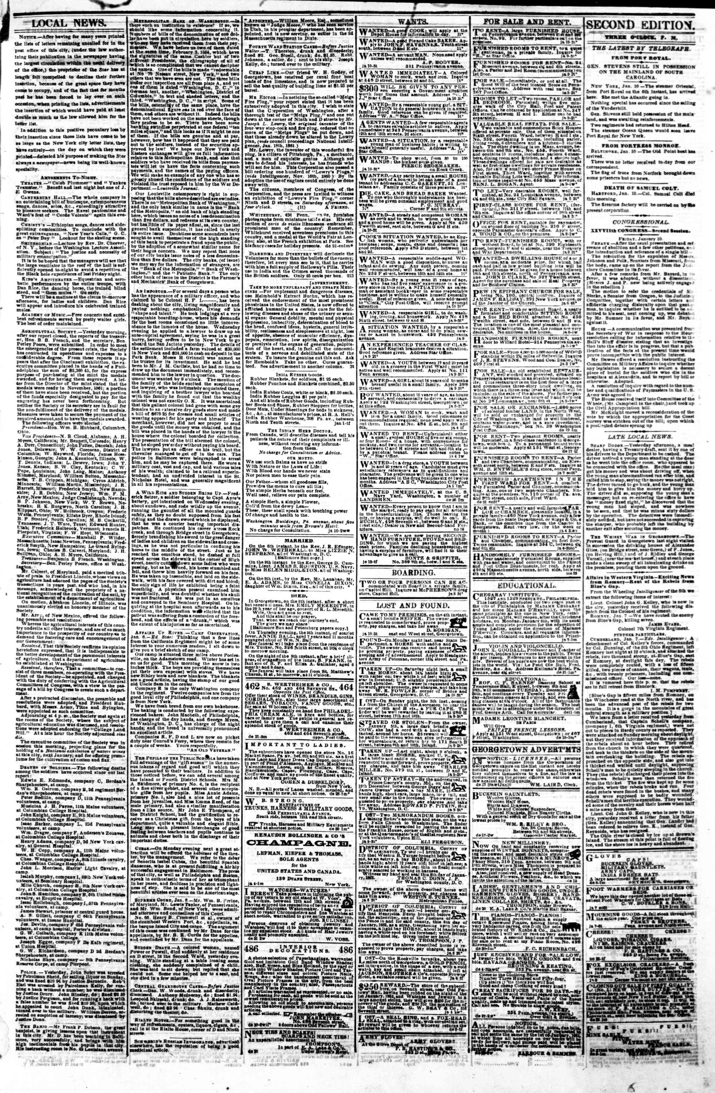 Newspaper of Evening Star dated January 11, 1862 Page 3