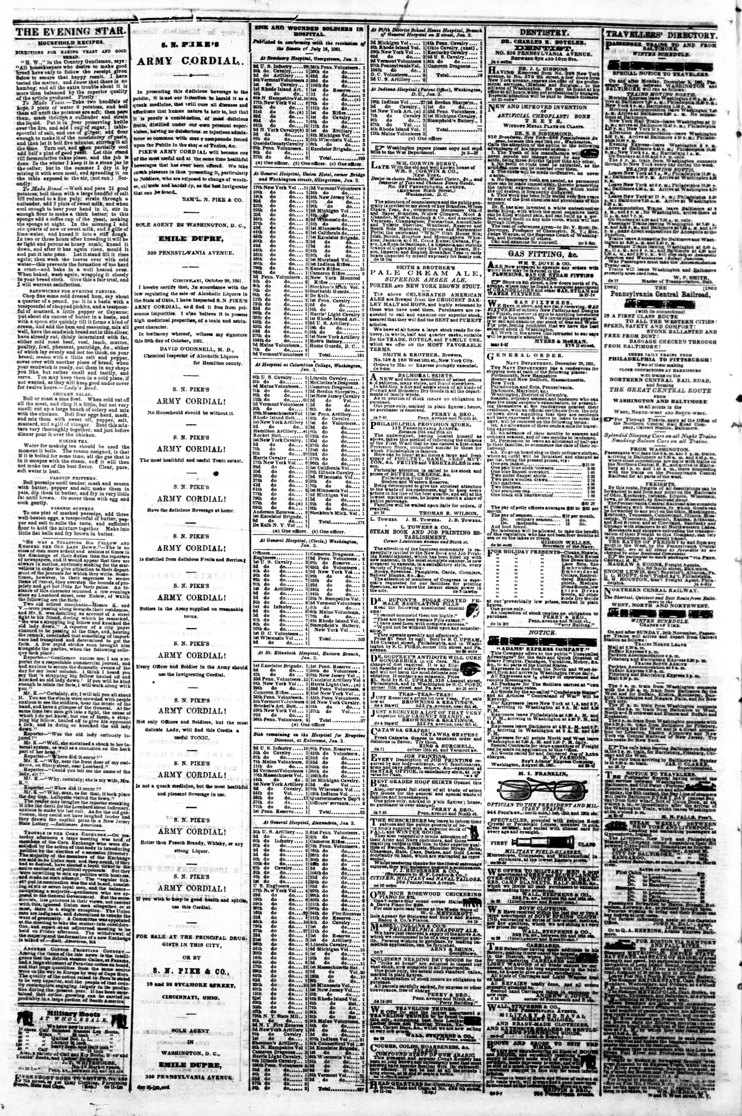 Newspaper of Evening Star dated January 11, 1862 Page 4