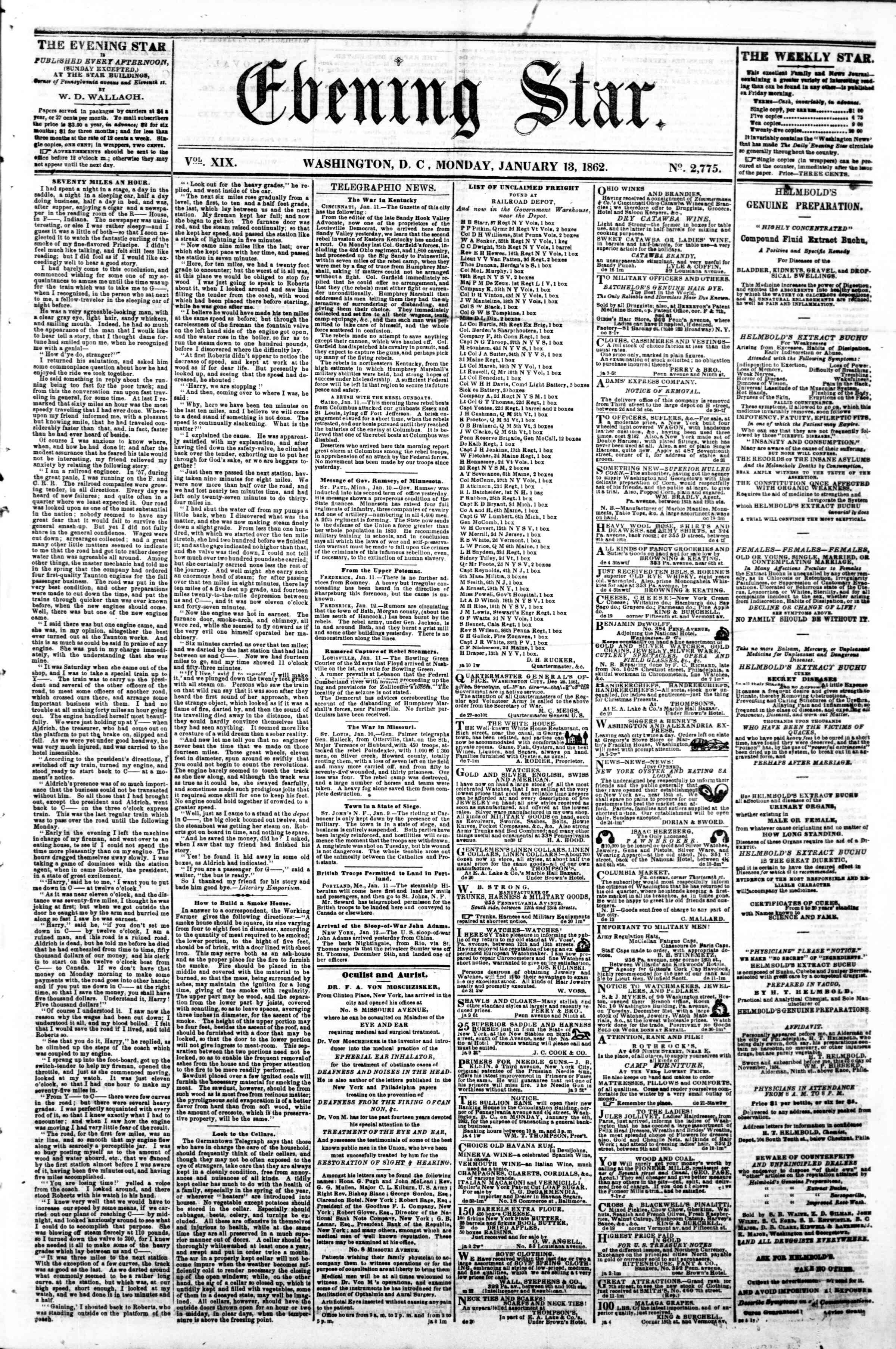 Newspaper of Evening Star dated January 13, 1862 Page 1