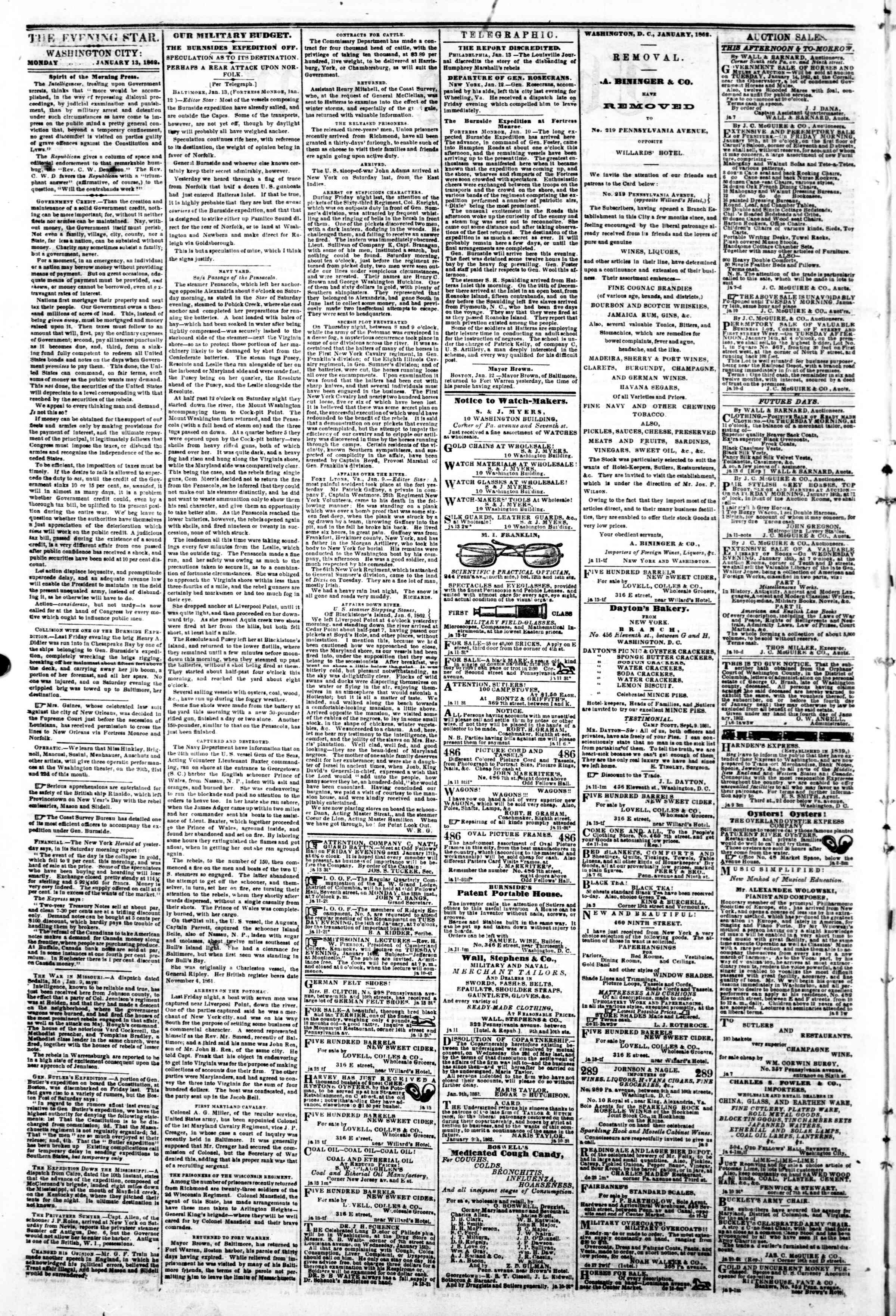 Newspaper of Evening Star dated January 13, 1862 Page 2