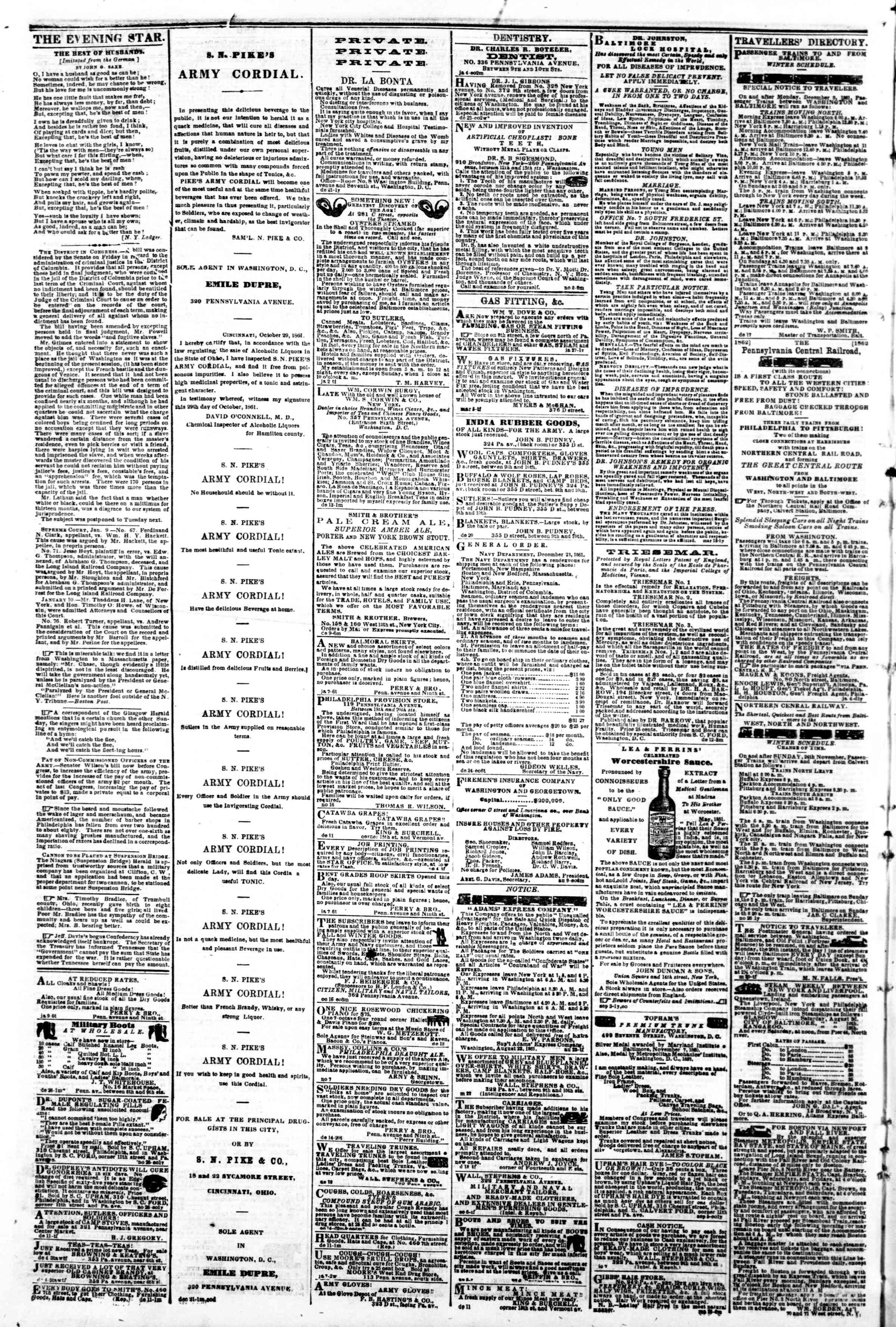 Newspaper of Evening Star dated January 13, 1862 Page 4
