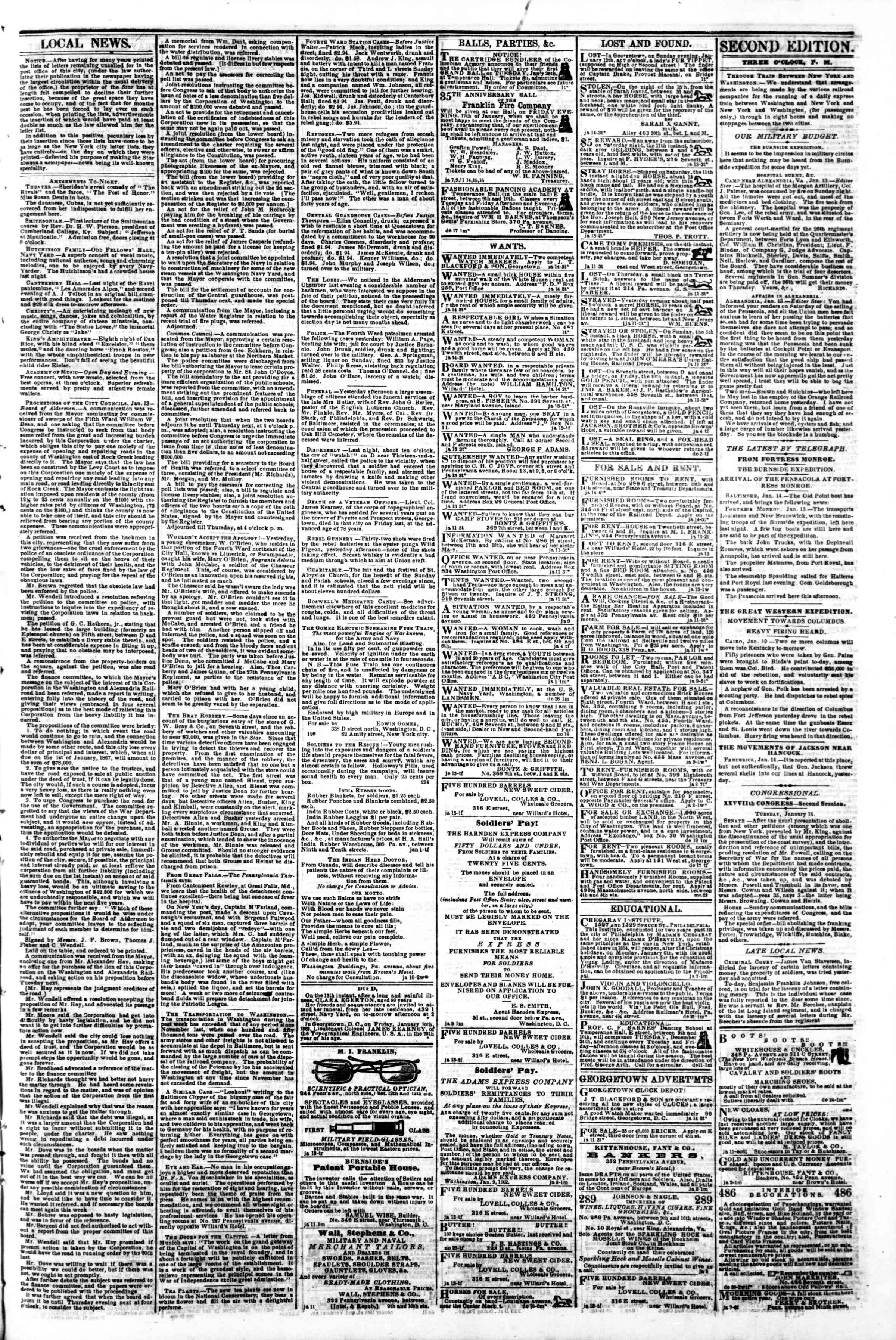 Newspaper of Evening Star dated January 14, 1862 Page 3
