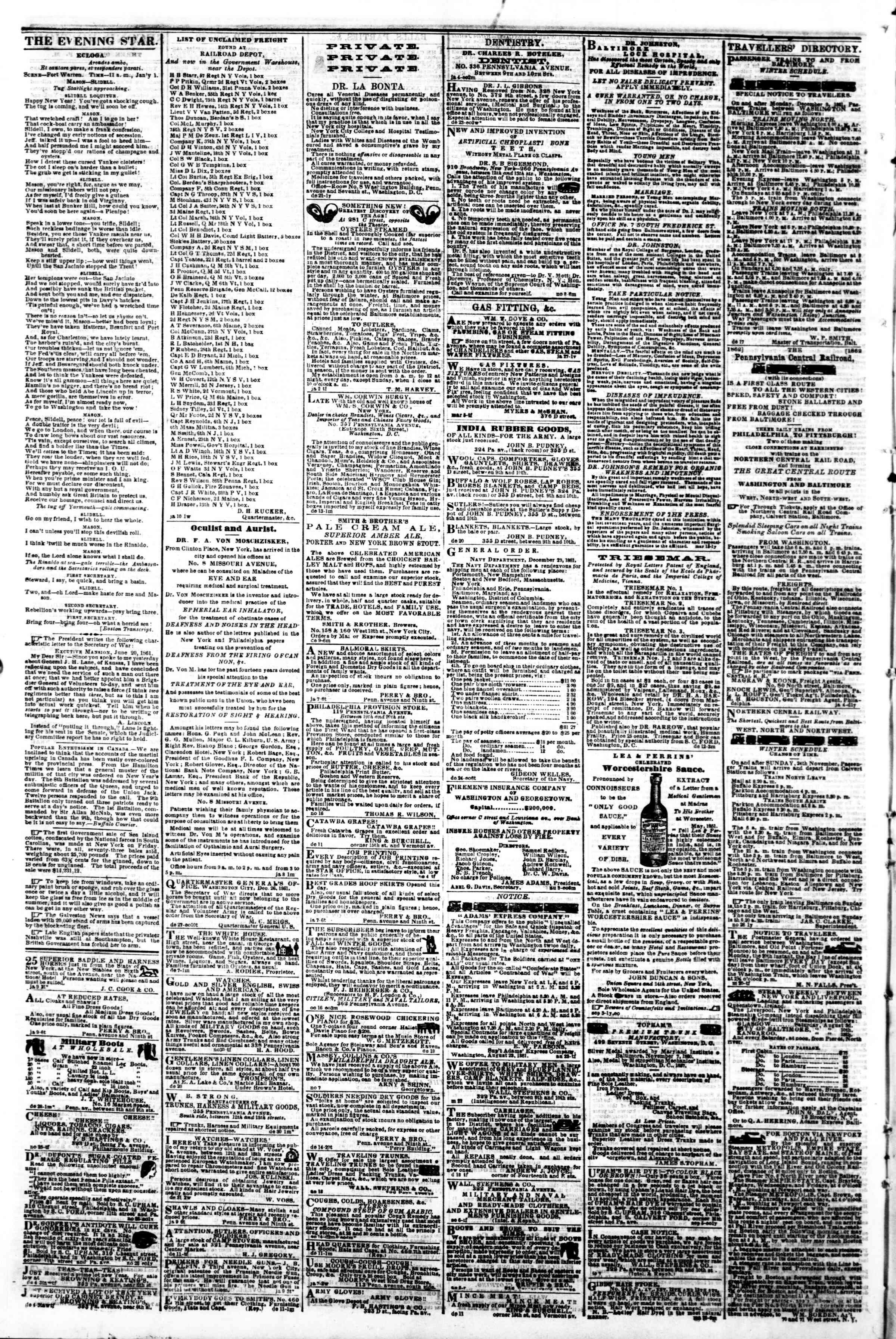 Newspaper of Evening Star dated January 14, 1862 Page 4