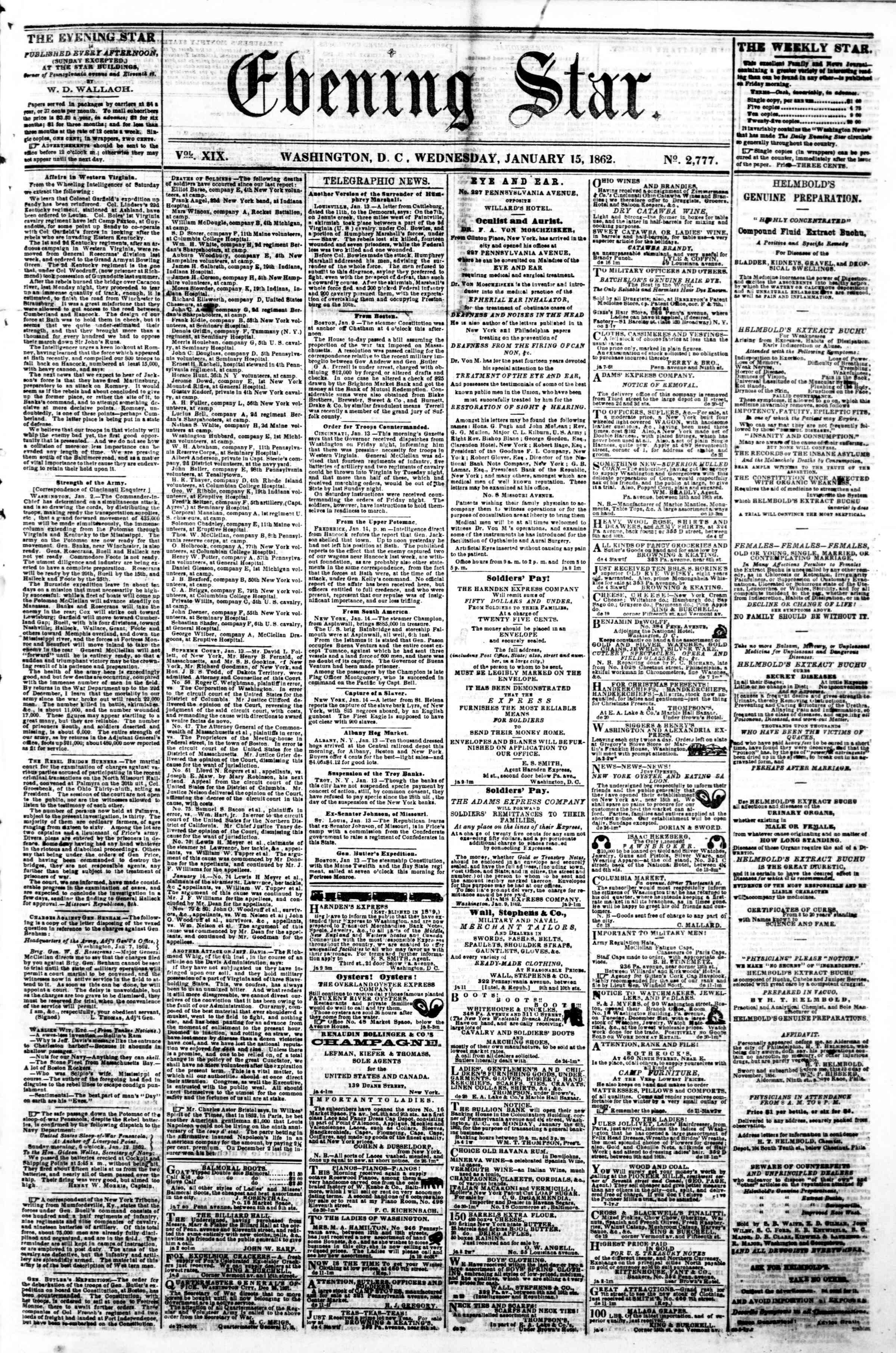 15 Ocak 1862 tarihli Evening Star Gazetesi Sayfa 1