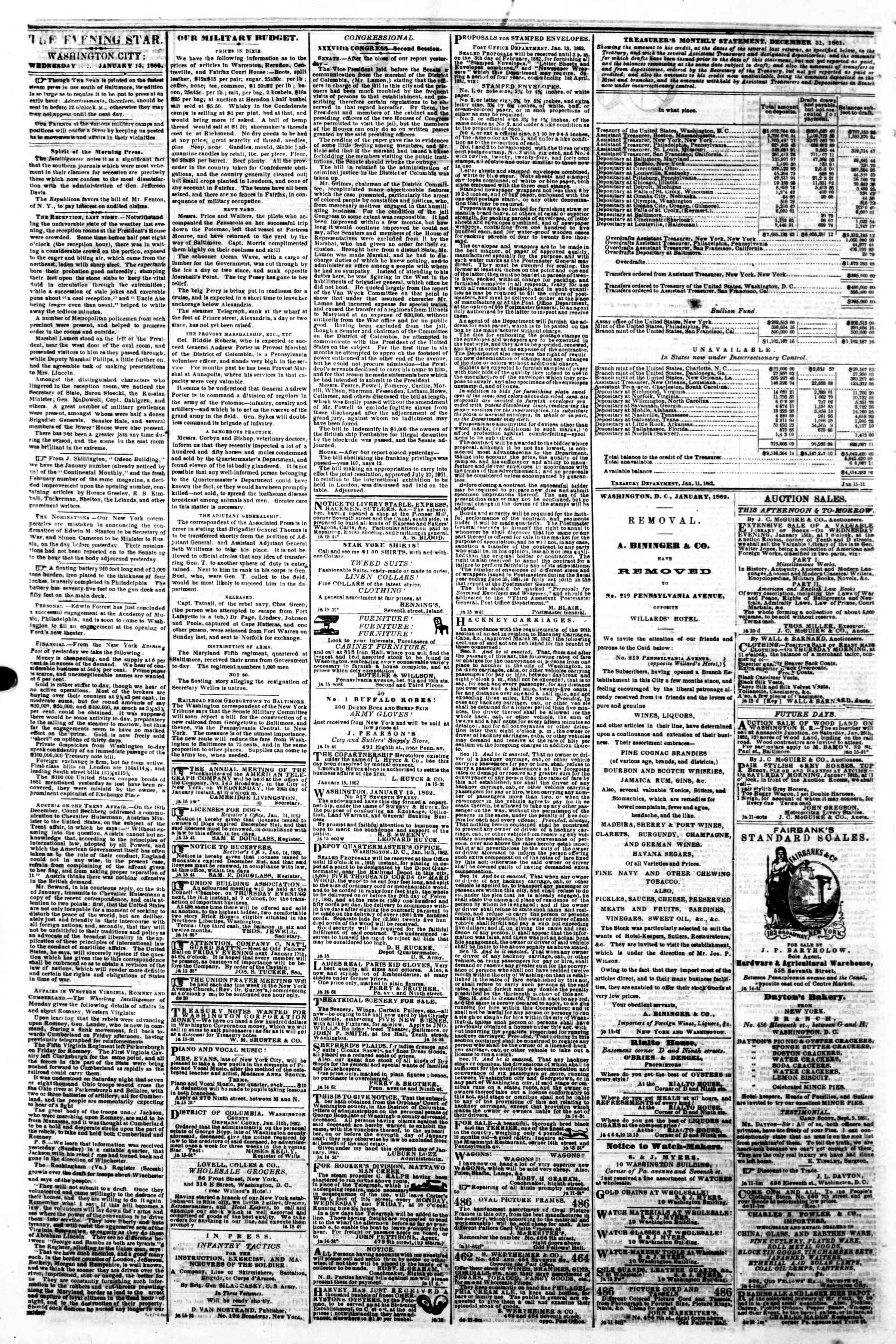 Newspaper of Evening Star dated January 15, 1862 Page 2