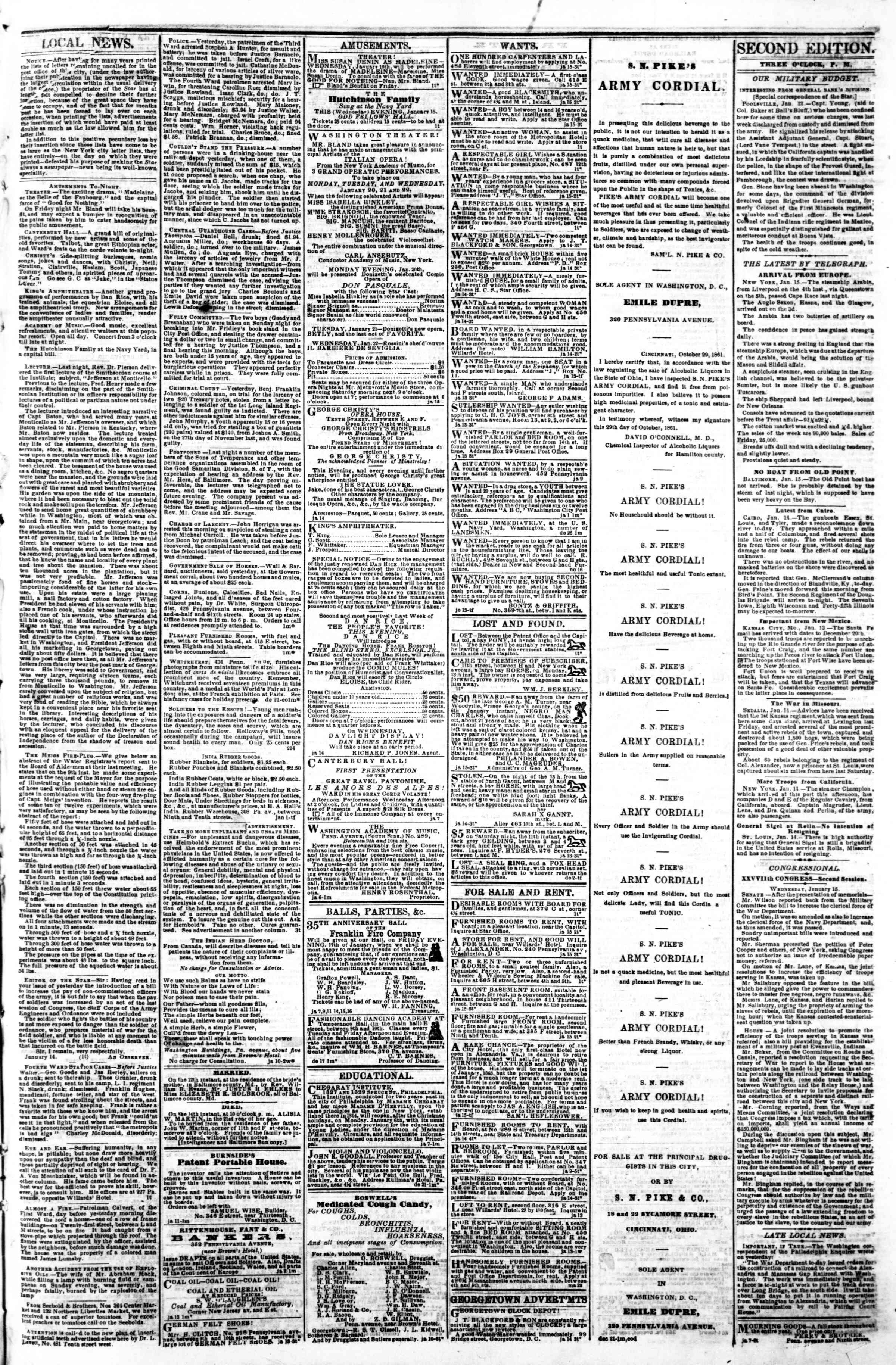 Newspaper of Evening Star dated January 15, 1862 Page 3