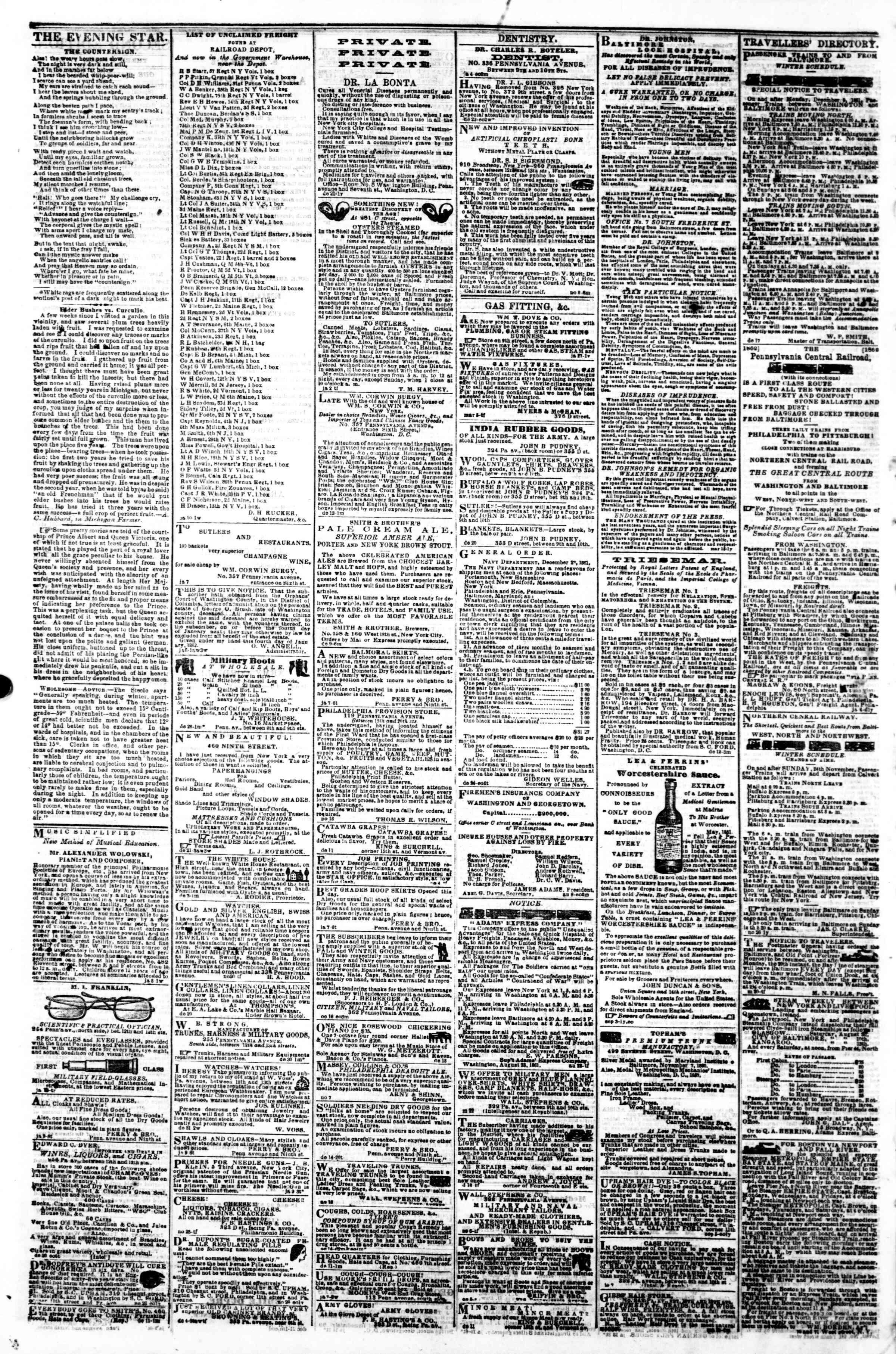 15 Ocak 1862 tarihli Evening Star Gazetesi Sayfa 4